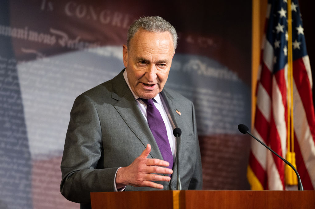 U.S. Senator, Chuck Schumer (D-NY) speaking at a press conference on May 5, 2020.