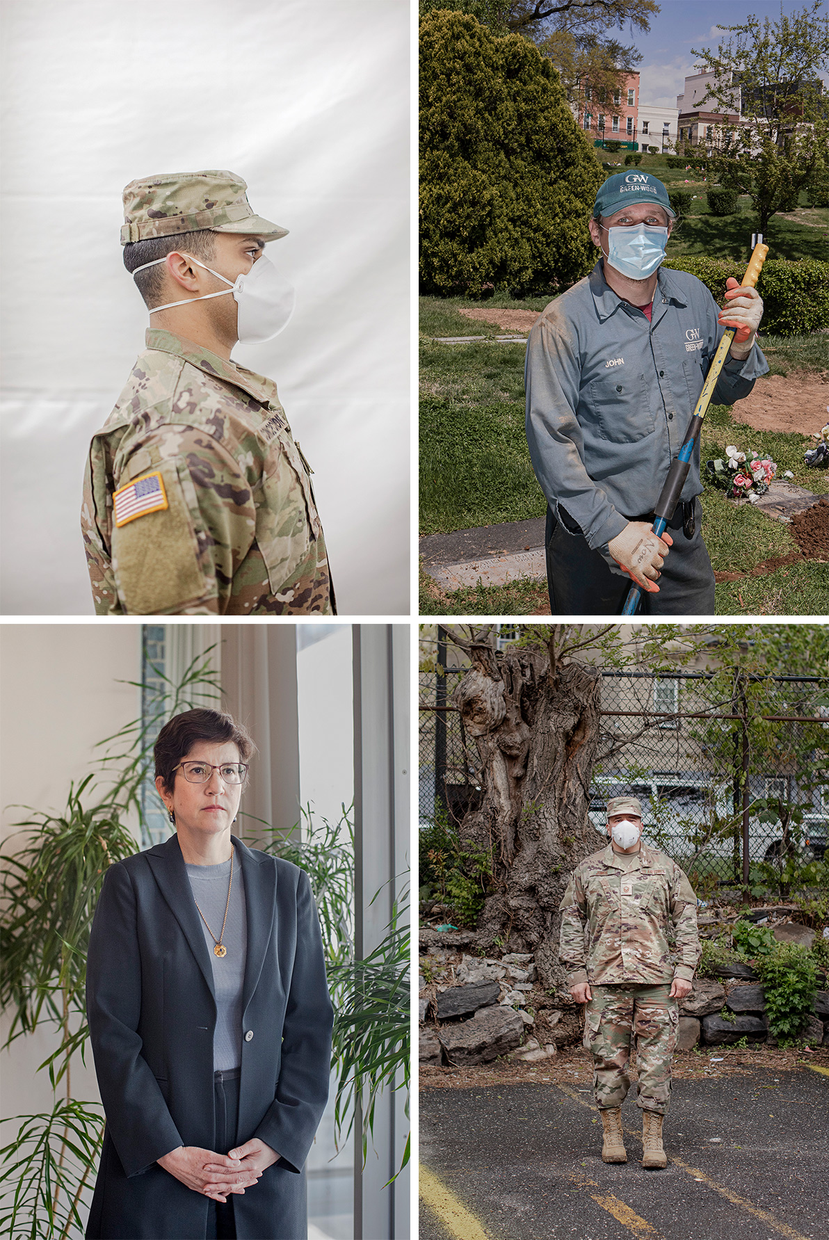 Clockwise from top-left: Jonathan Concepcion, Private First Class; Janusz Karkos, Green-Wood Cemetery Gravedigger; Ramon Jones, Master Sergeant; Barbara Sampson, Chief Medical Examiner