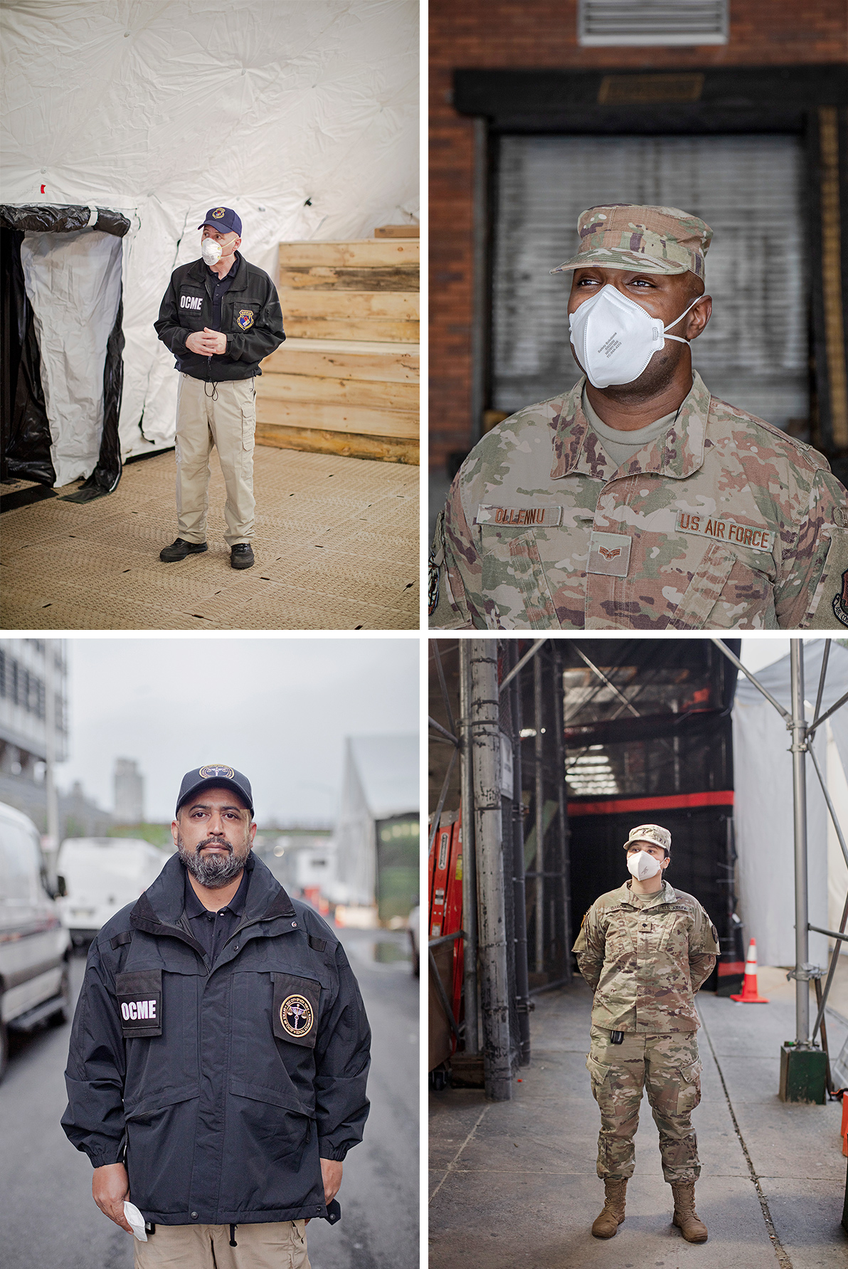 Clockwise from top-left: Frank DePaolo, Deputy Commissioner for Forensic Operations; Steve Ollennu, Senior Airman; Naraly Garcia, Specialist, Muhammed Qureshi, City Mortuary Technician