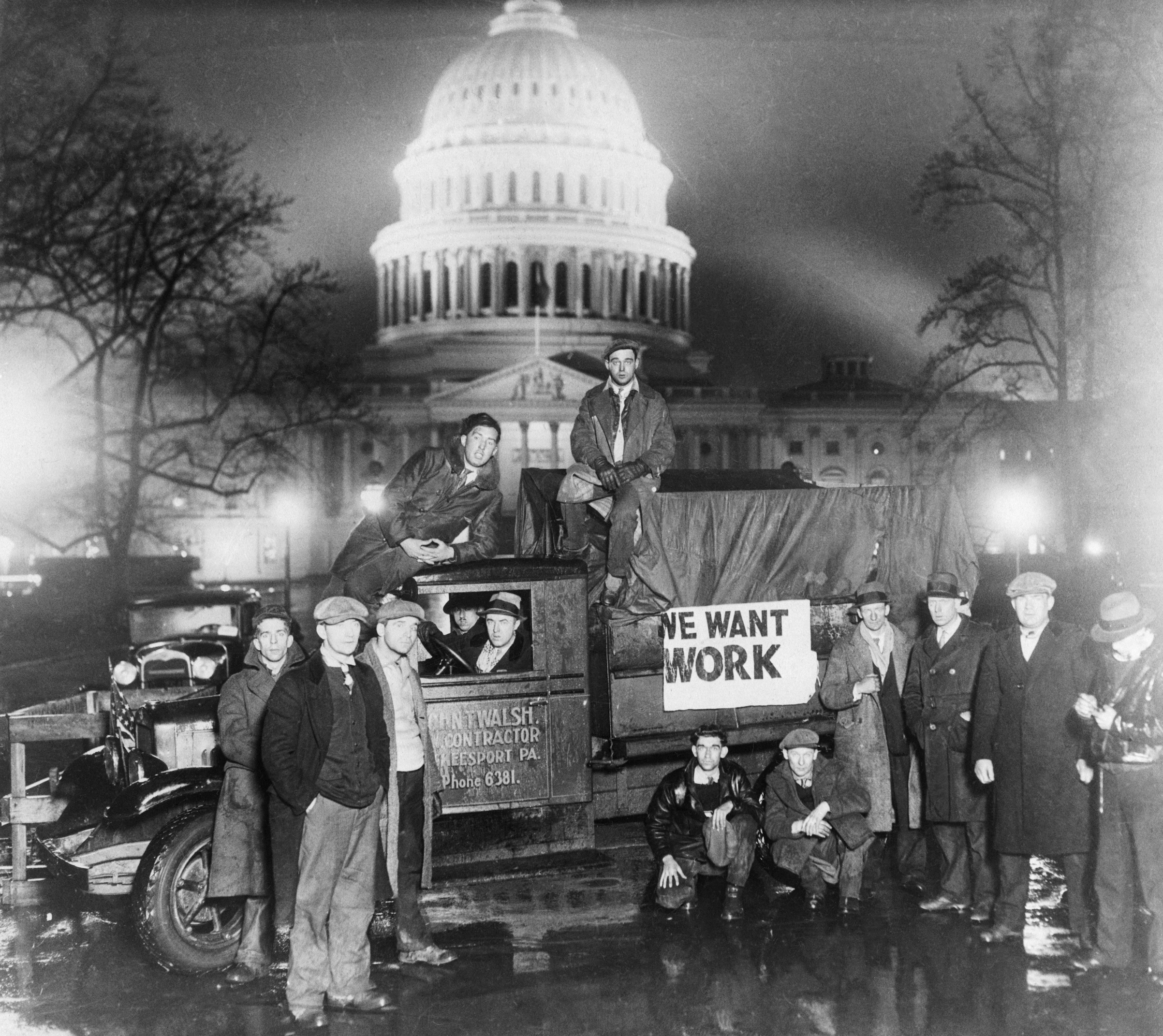 Unemployed men arrive at the capitol in Washington, D.C., to appeal for Federal Aid in 1932.