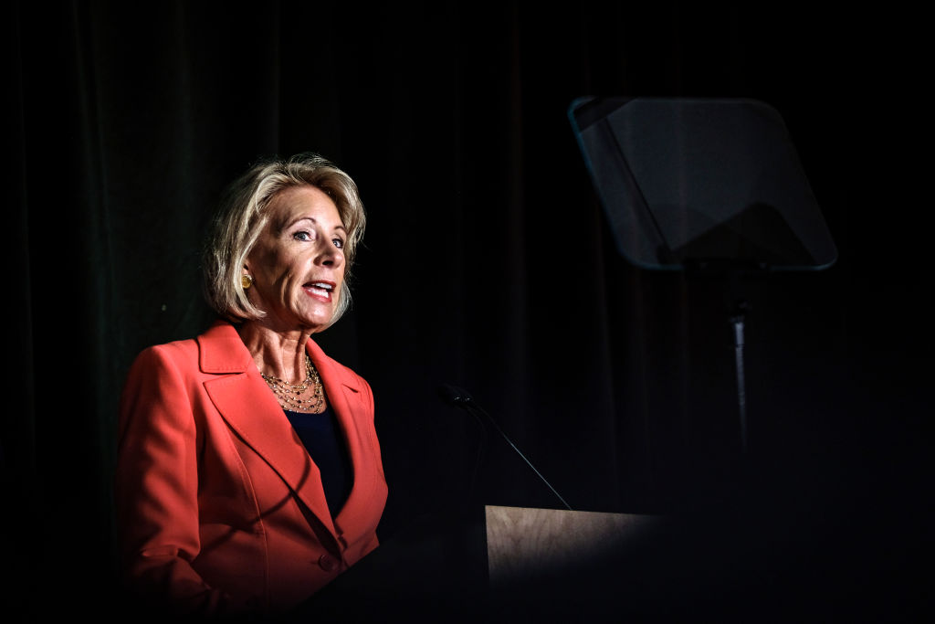 U.S. Education Secretary Betsy DeVos announces changes in federal policy on rules for investigating sexual assault reports on college campuses at The George Mason University Antonin Scalia Law School in Arlington, Virginia on September 7, 2017.