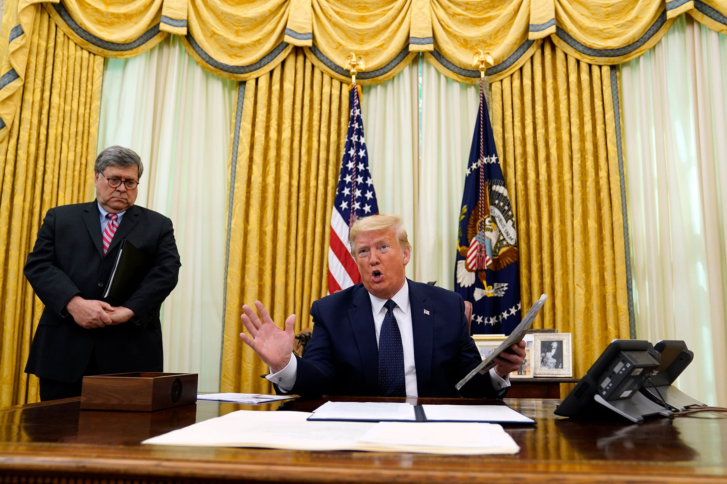 President Donald Trump speaks before signing an executive order aimed at curbing protections for social media giants, in the Oval Office of the White House, on May 28, 2020.