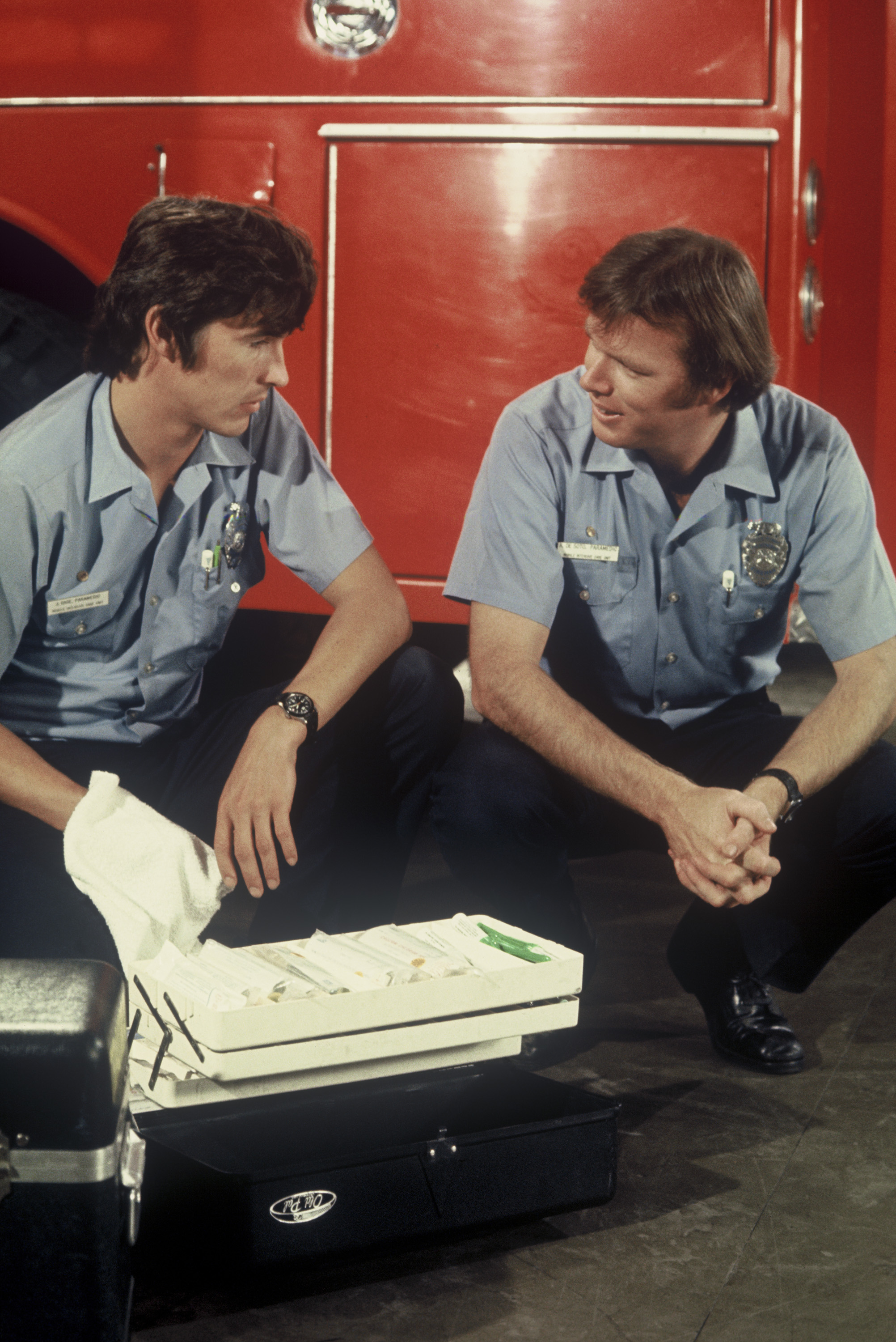The show EMERGENCY! raised awareness of paramedics when the profession was just getting going. (L-R) Paramedics on the show John Gage and Roy DeSoto played by Randolph Mantooth and Kevin Tighe, respectively, in an episode that aired Nov. 3, 1973.