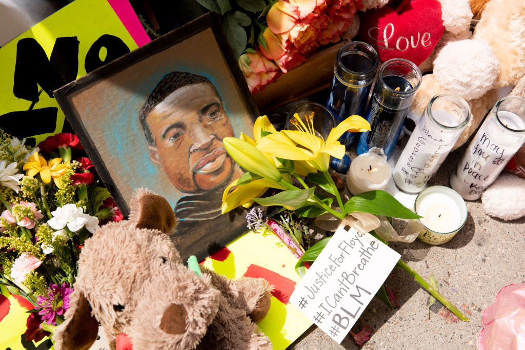 A memorial for George Floyd is seen on Wednesday, May 27, 2020 during the second day of protests over his death in Minneapolis.