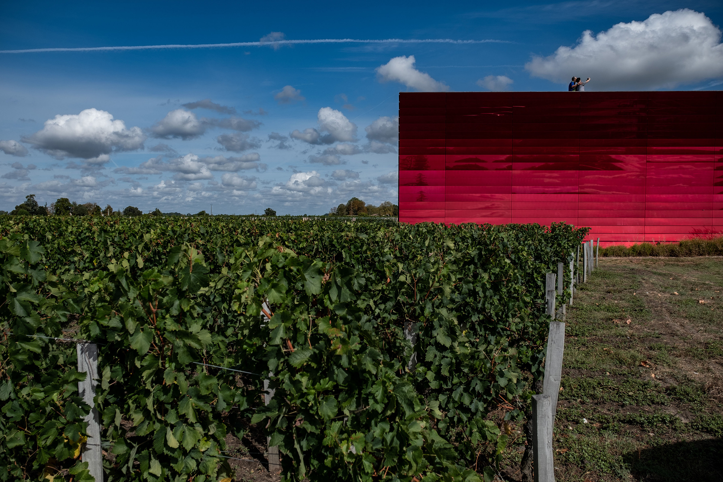 Visitors take a 'selfie' photograph on the roof garden of the Terasse Rouge winery and restaurant beside the vineyards at Chateau La Dominique in Pomerol, France, on Sept. 23, 2019