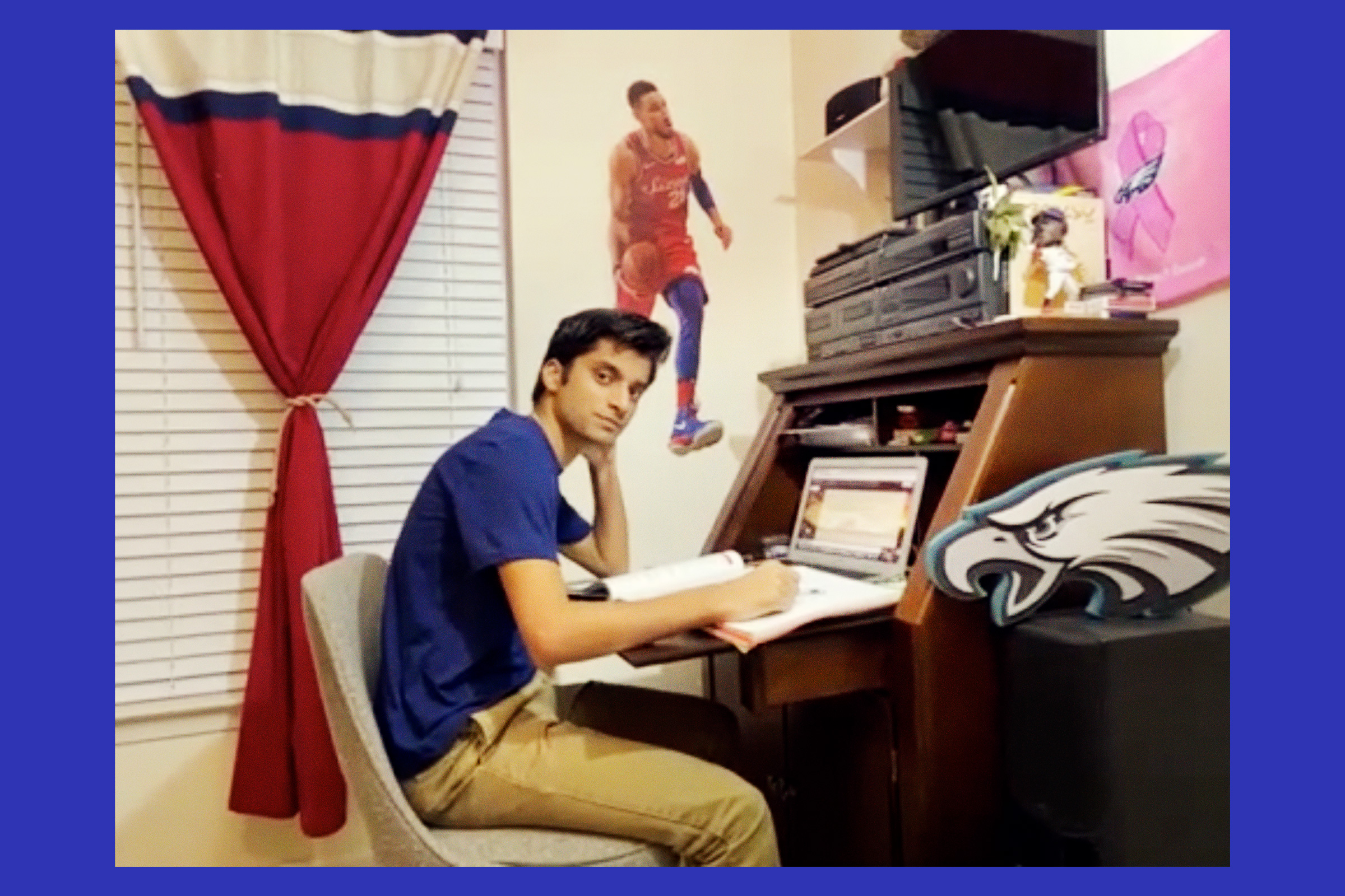 Dhruv started a fundraising nonprofit after his twin brother died of cancer in 2018 but has struggled to keep it afloat; he's pictured here at home, via Zoom
