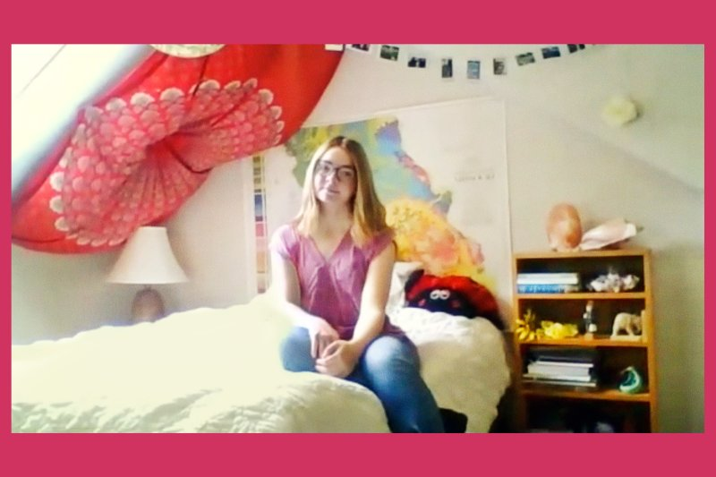 Lauren has won statewide awards for her environmental journalism; she's pictured at home, via Zoom