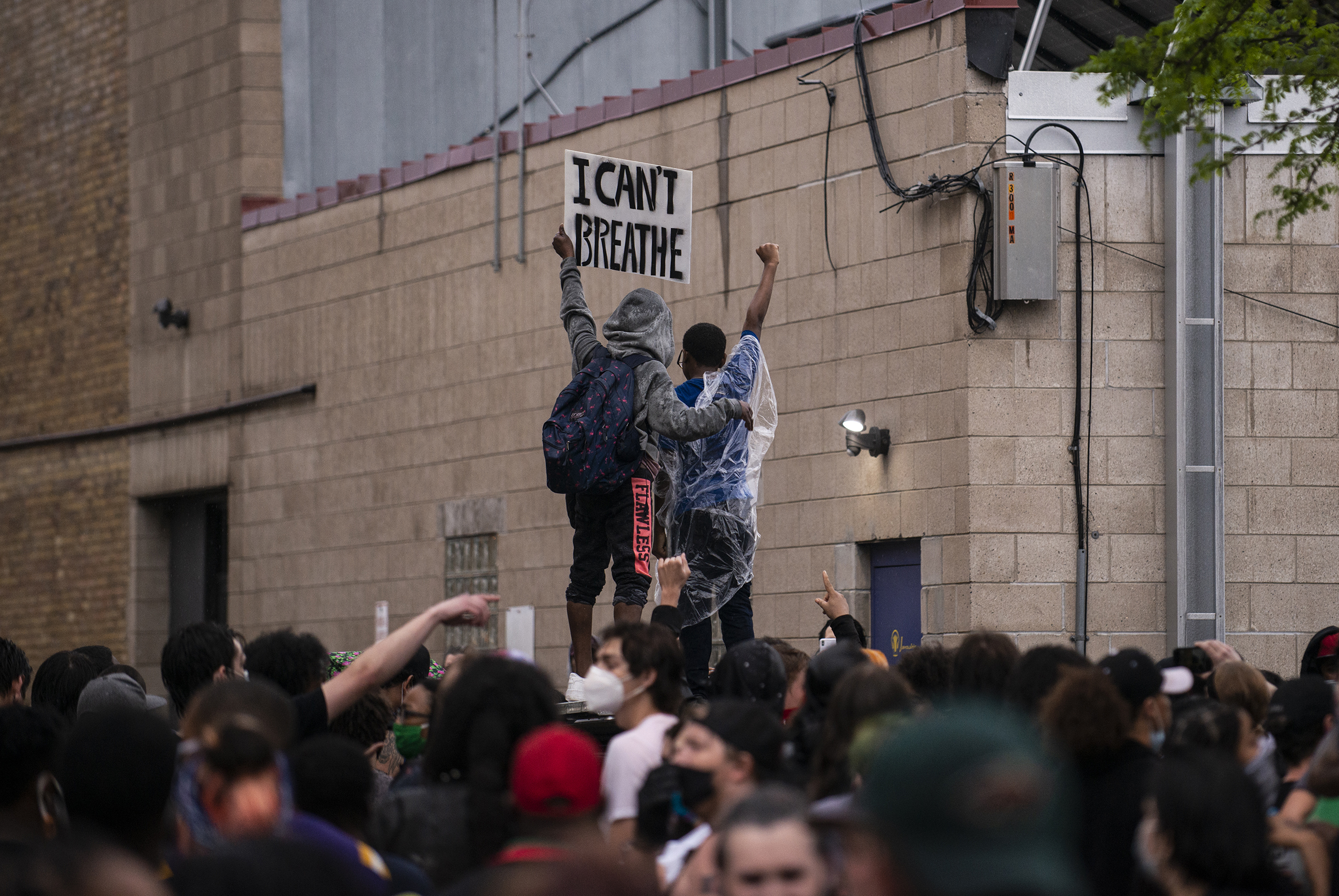 Protesters demonstrate against the death of George Floyd outside the 3rd precinct on May 26.