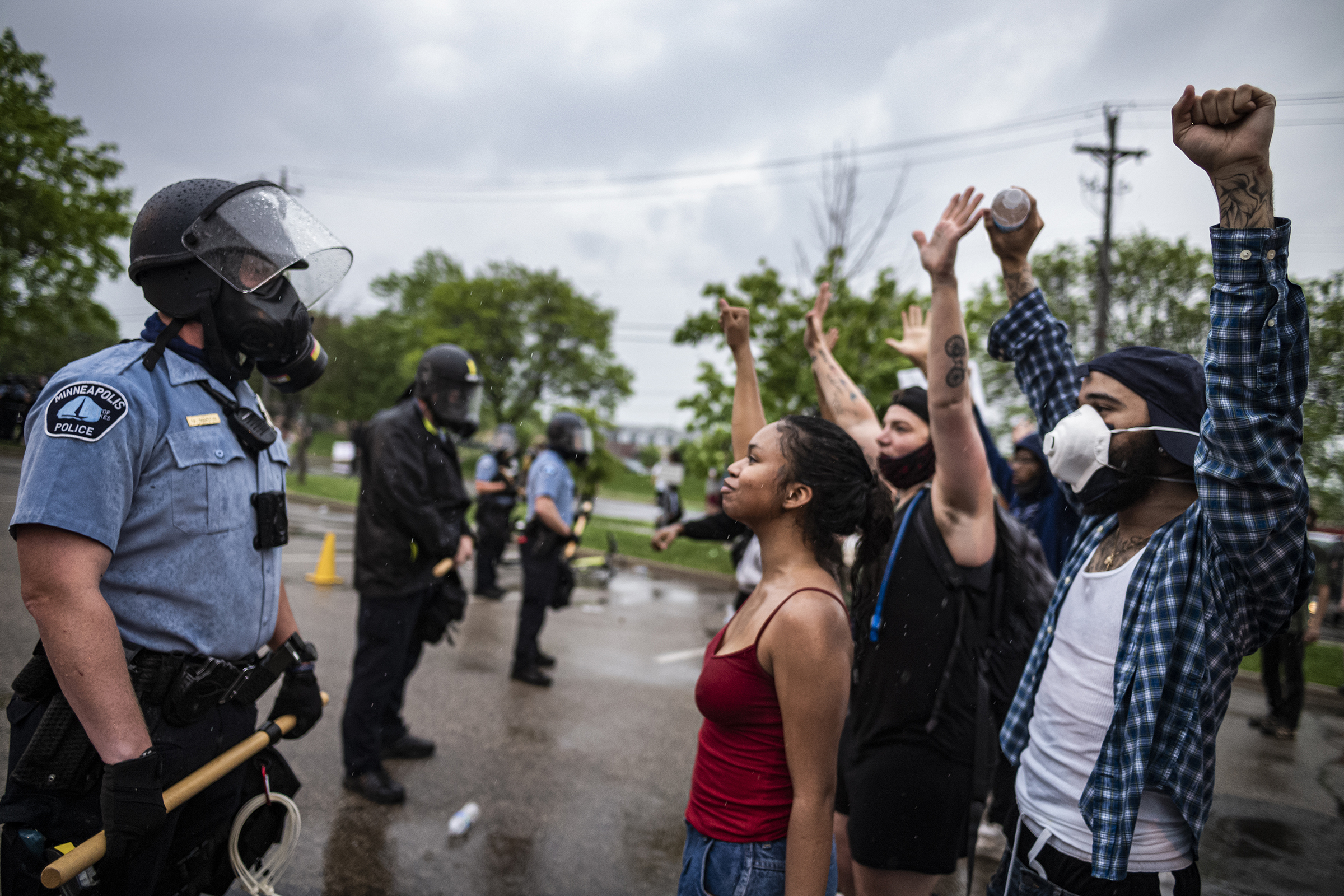 People face off with police near the 3rd precinct in Minneapolis on May 26.