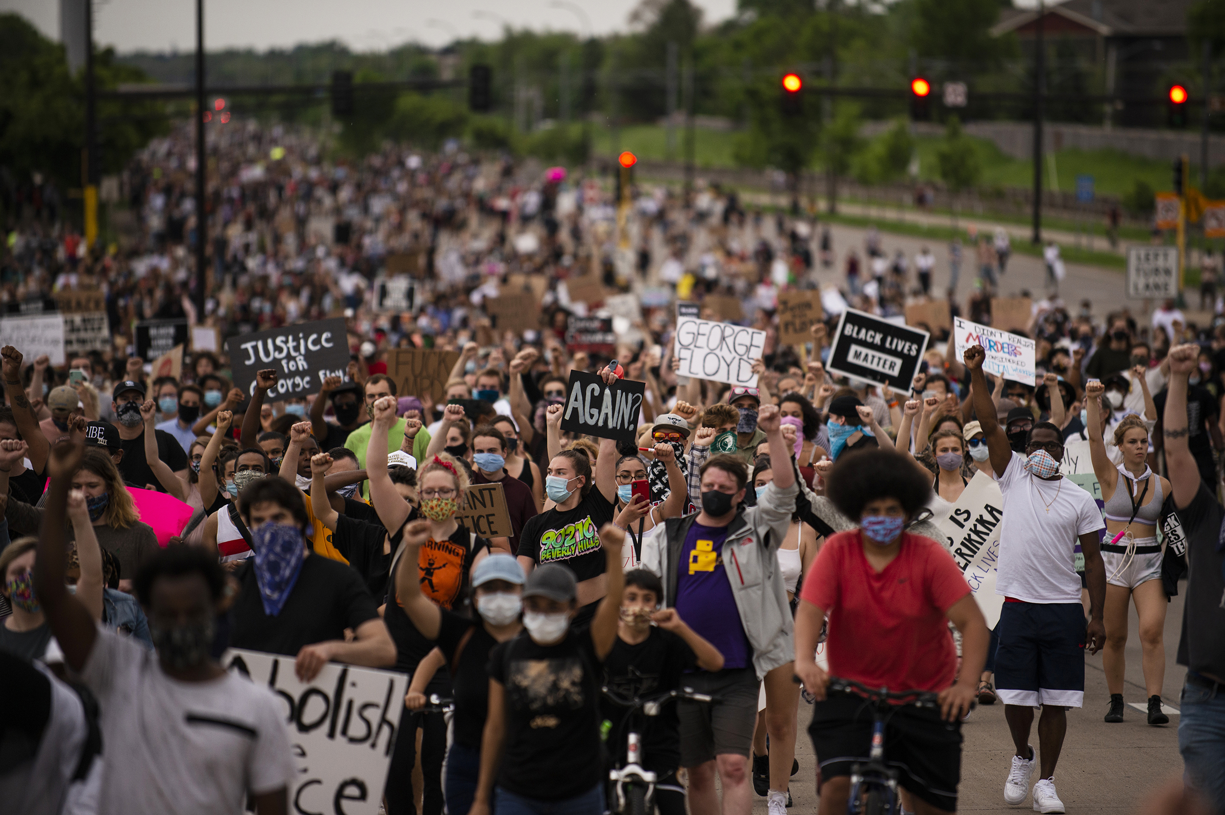 Protesters decrying the killing of George Floyd march on Hiawatha Avenue in Minneapolis on May 26.