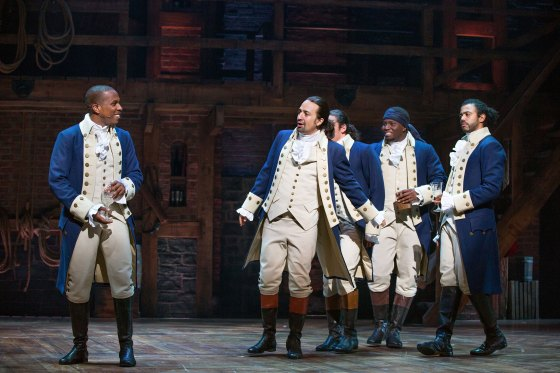 "From left, Leslie Odom Jr., Lin-Manuel Miranda, Anthony Ramos, Okieriete Onaodowan and Daveed Diggs in ""Hamilton"" at the Richard Rodgers Theater in New York, July 11, 2015."