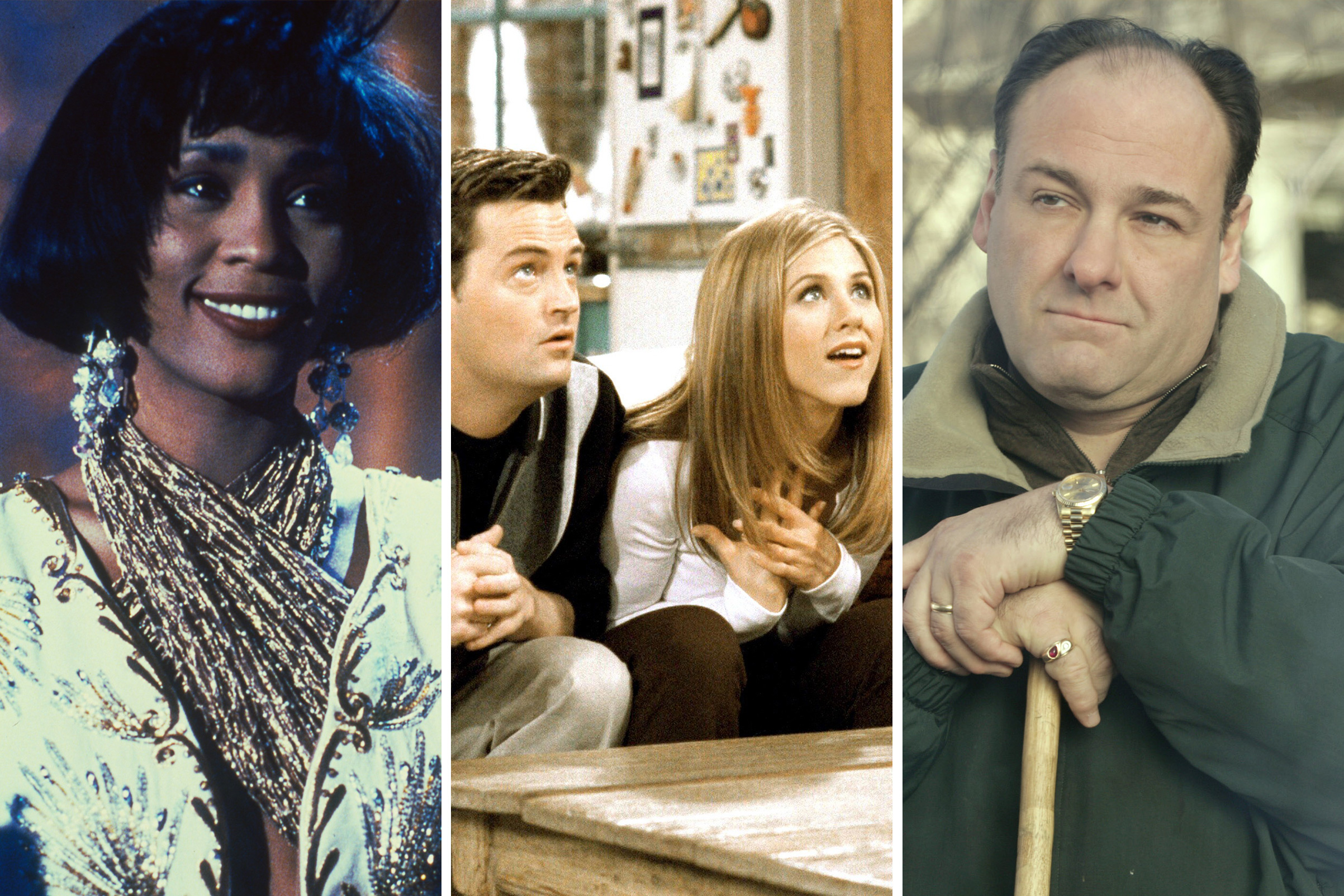 Whitney Houston in 'The Bodyguard', a scene from 'Friends,' James Gandolfini in 'The Sopranos'