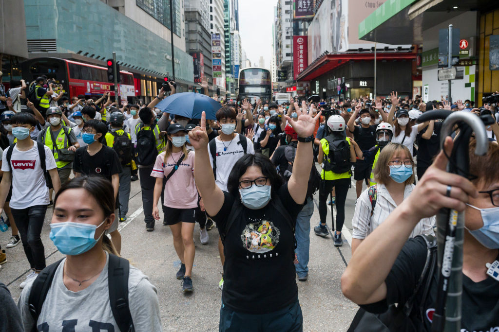 Hong Kong protesters rally against China's national security law at Mongkok district in Hong Kong, China on May 27, 2020.