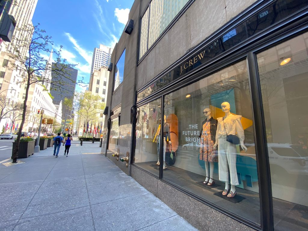 A street remains mostly deserted near a J Crew store during the coronavirus pandemic on May 3, 2020 in New York City.