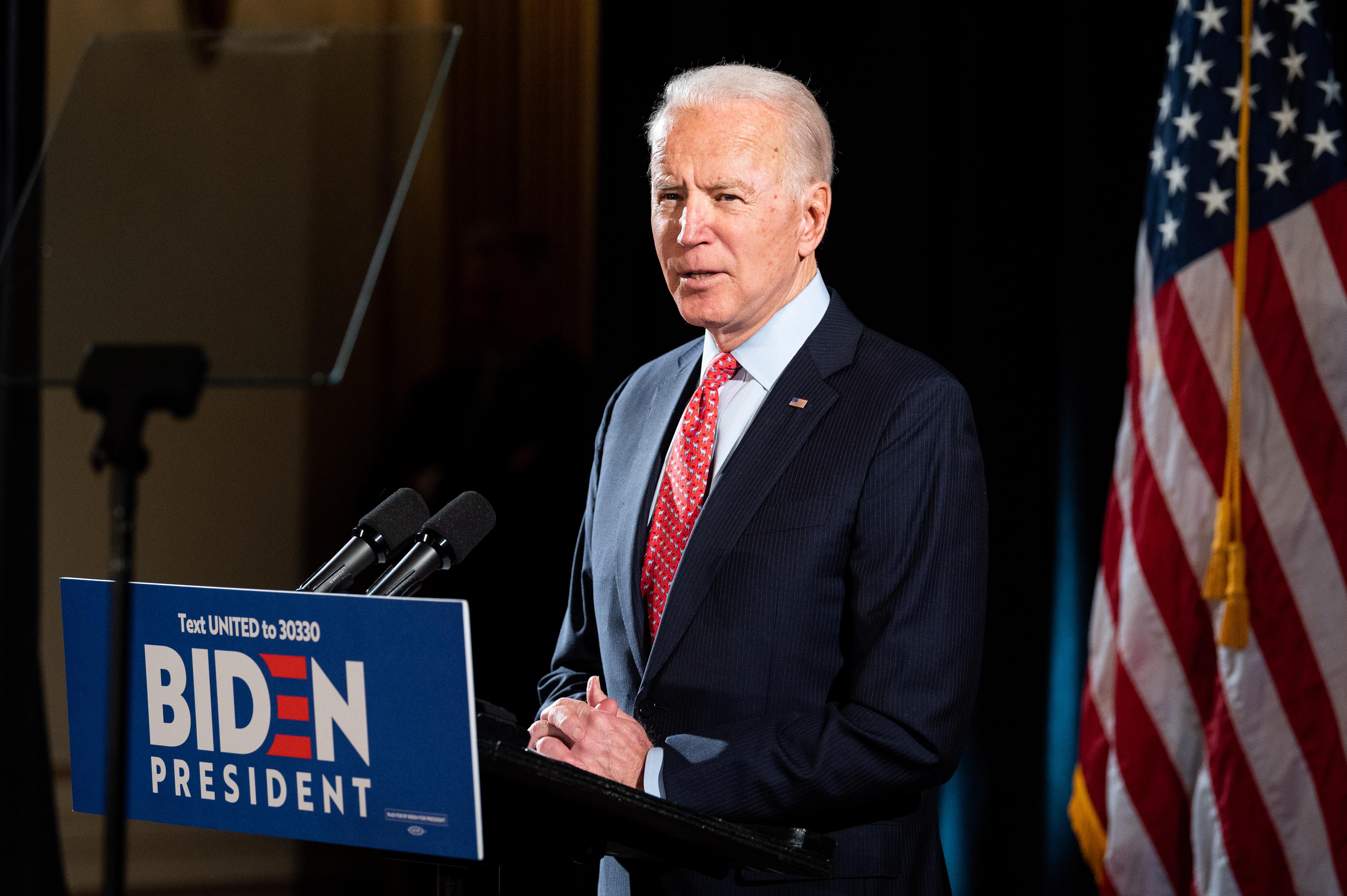Joe Biden speaks at the Hotel Du Pont in Wilmington, Del. on March 20, 2020.