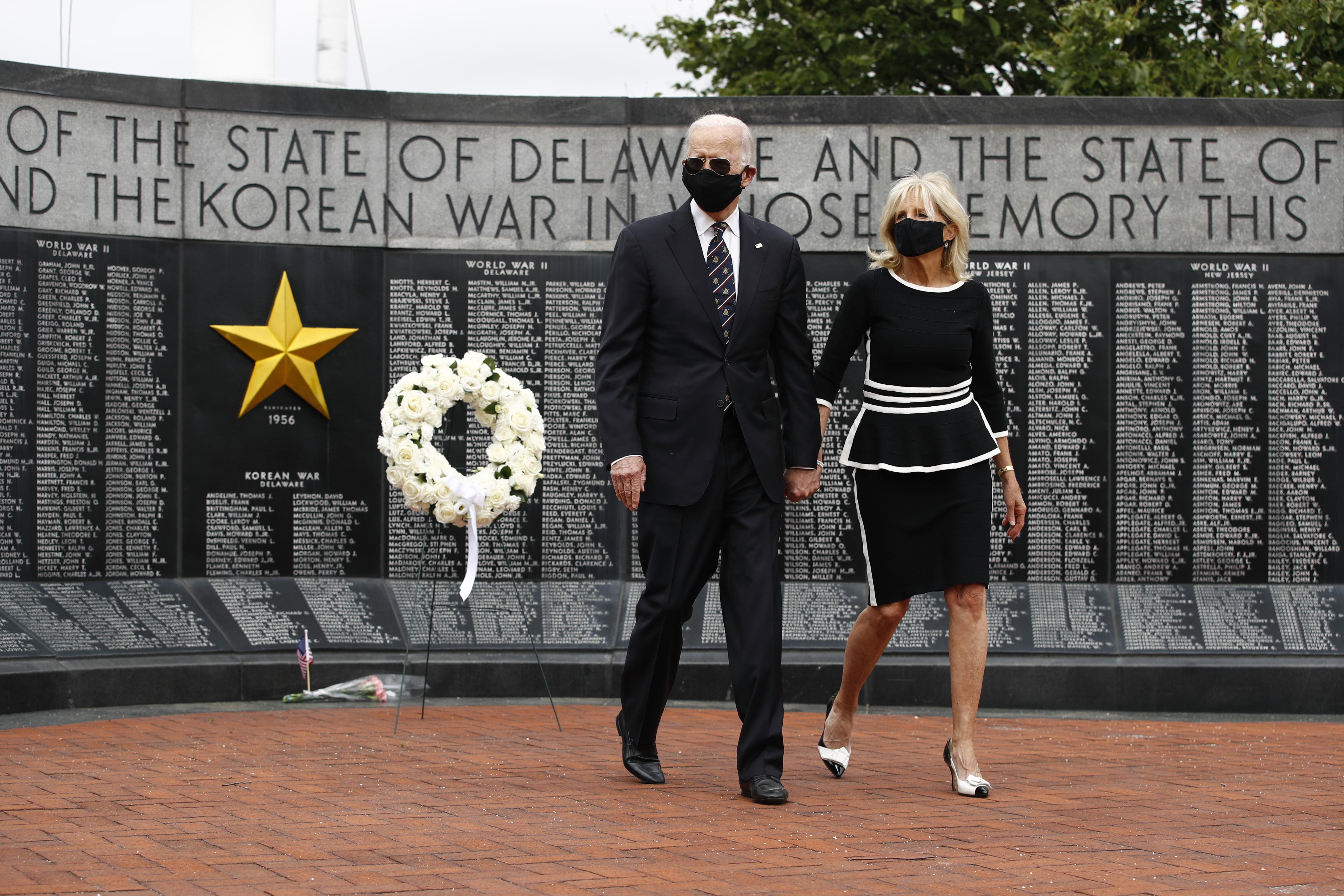 Democratic presidential candidate, former Vice President Joe Biden and Jill Biden depart after placing a wreath at the Delaware Memorial Bridge Veterans Memorial Park, May 25, 2020, in New Castle, Del.