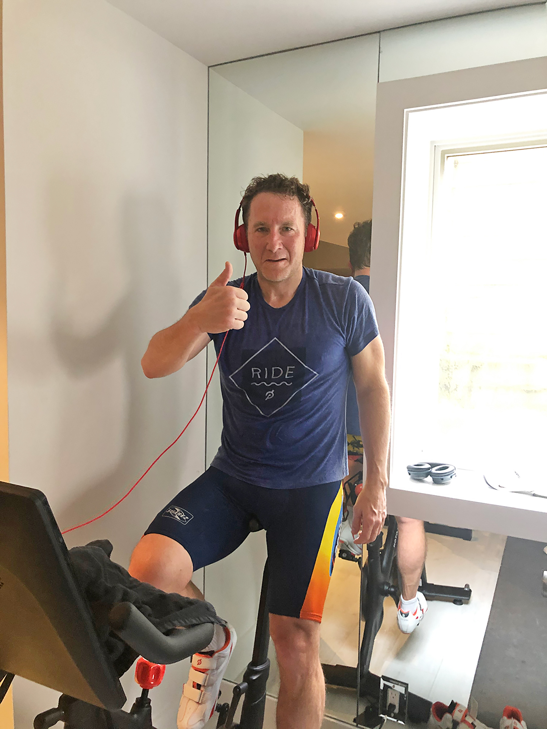Peloton CEO John Foley at his New York City area home in May