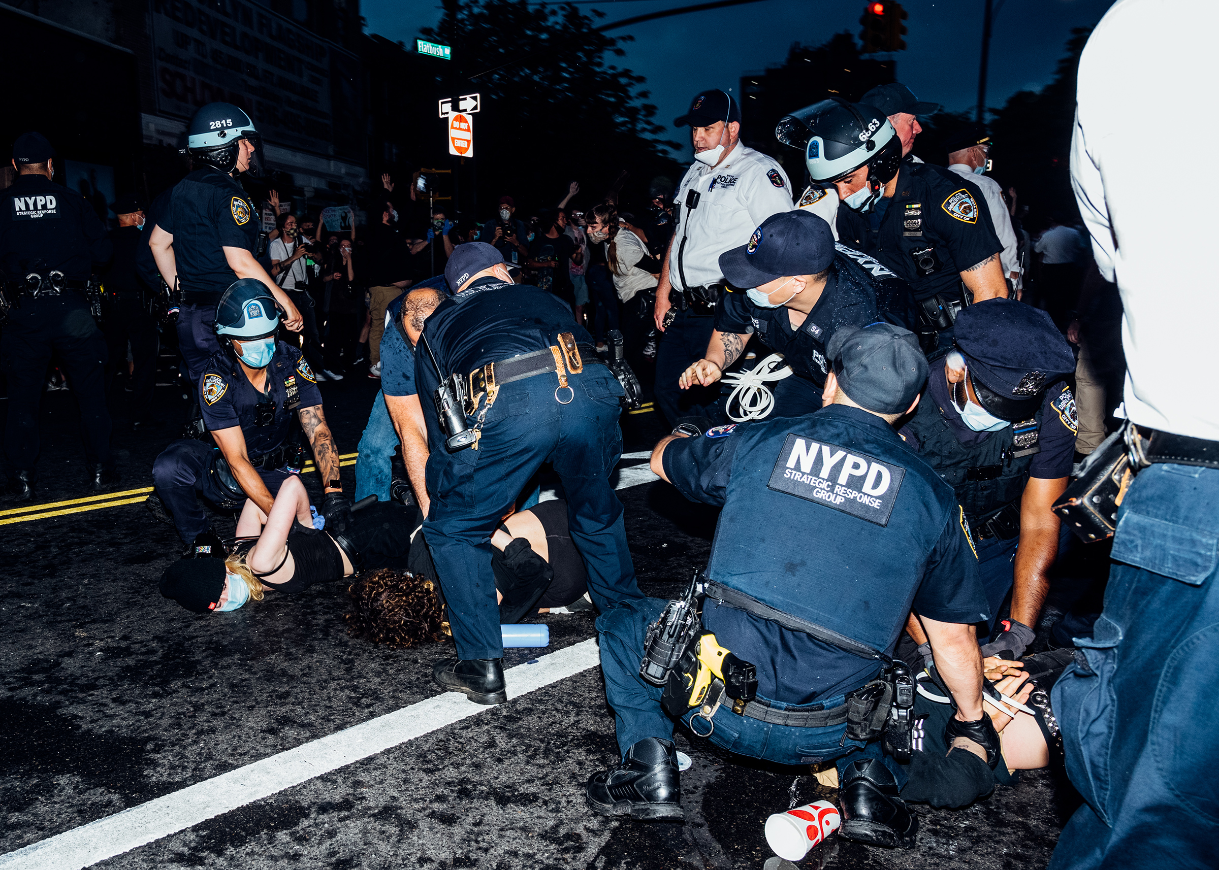 Demonstrators are detained during a protest near Brooklyn's Barclays Center on May 29.
