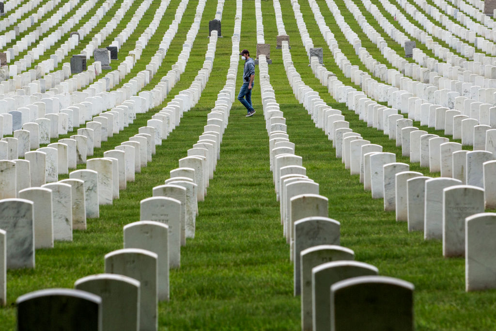 Graves of U.S. soldiers at the Cypress Hill Military Cemetery in Brooklyn, NY on May 25, 2020.
