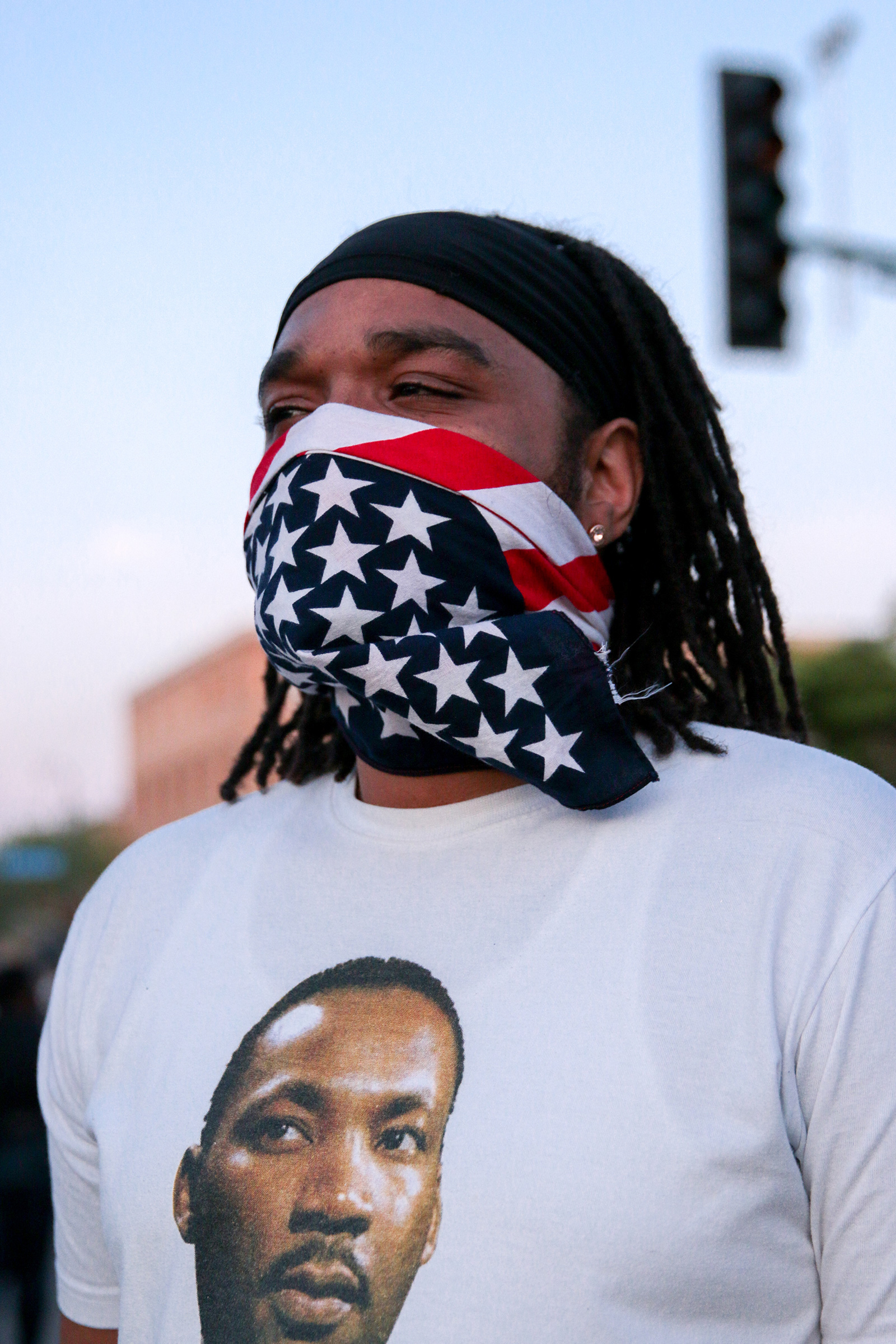 A protester near the 3rd precinct in Minneapolis on May 28.