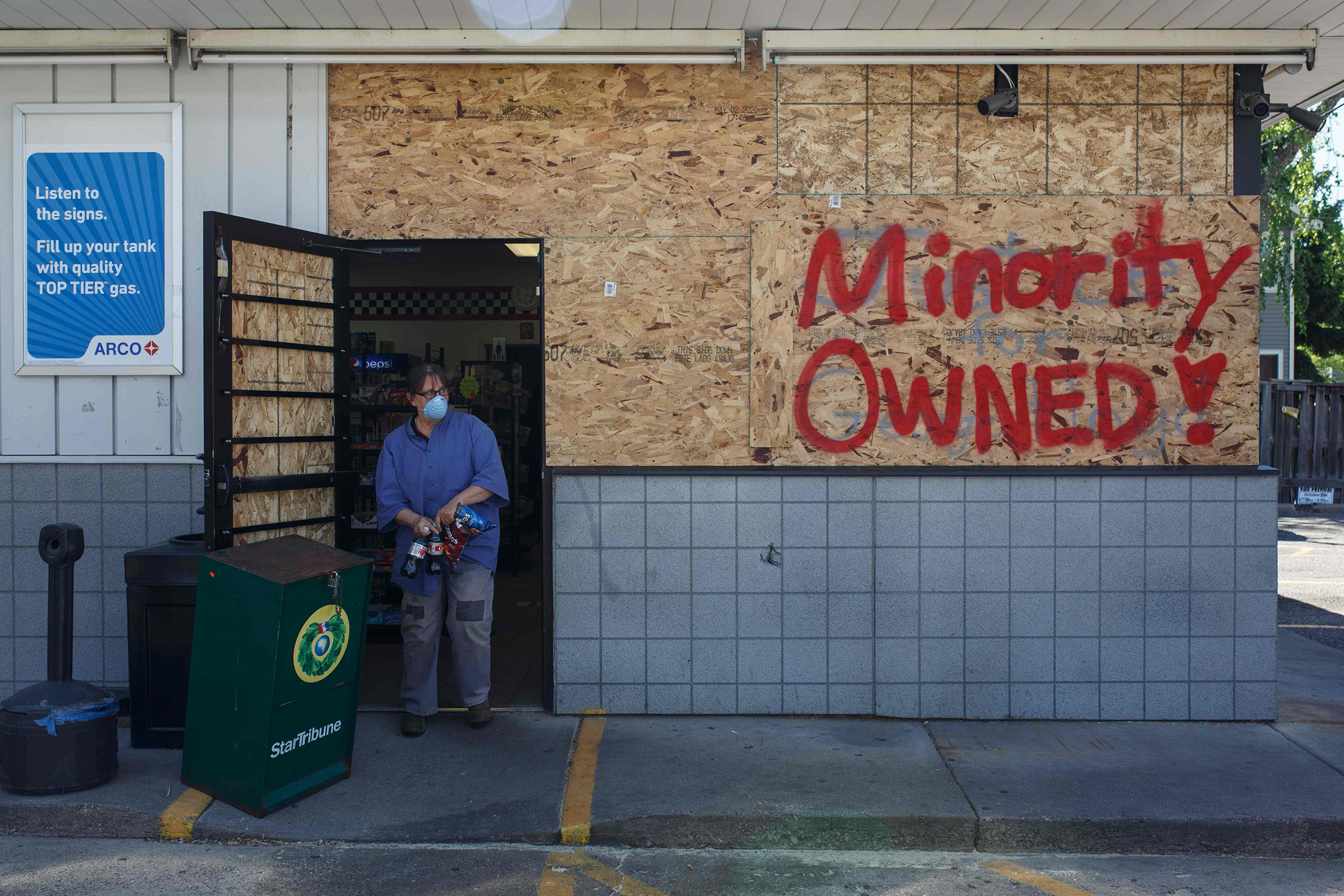 A store is boarded up as local businesses prepare themselves from violent demonstrations in Minneapolis, Minn. on May 30, 2020.