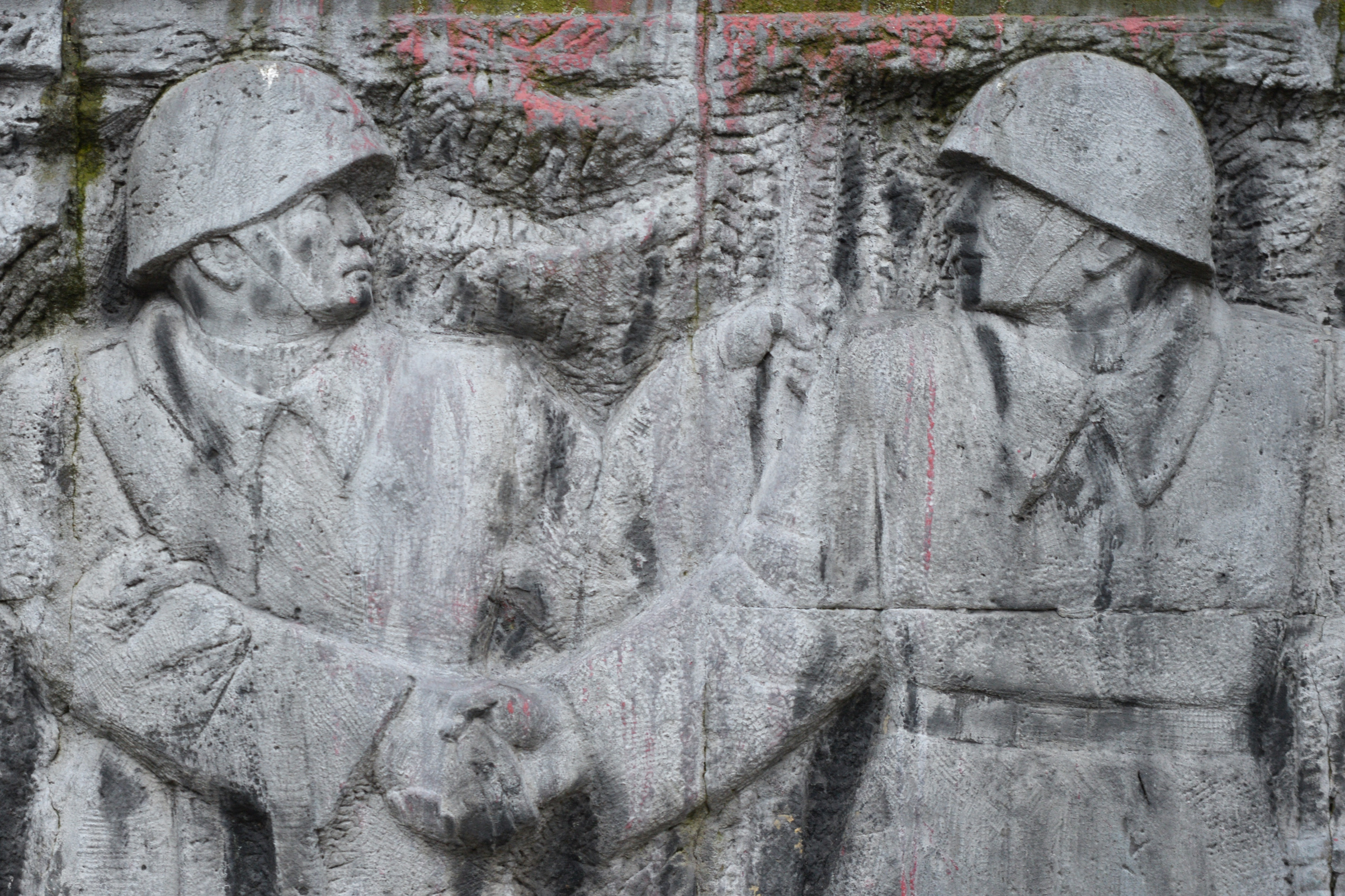 Details of a monument to the Red Army built in 1950, in Rzeszow, Poland, seen Dec. 30, 2019.