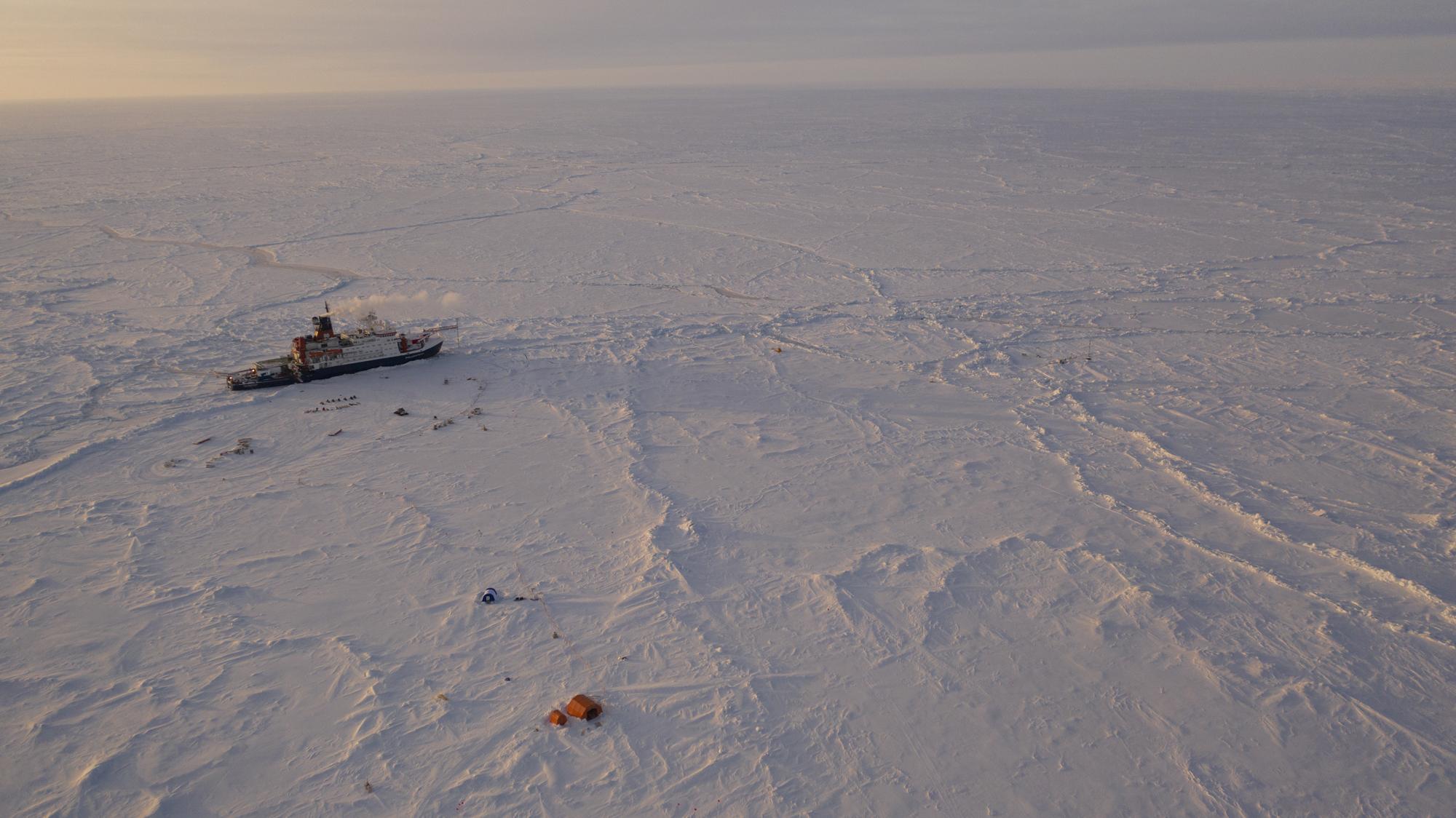 The German Arctic research vessel Polarstern in the ice next to a research camp in the Arctic region, on April 24, 2020.