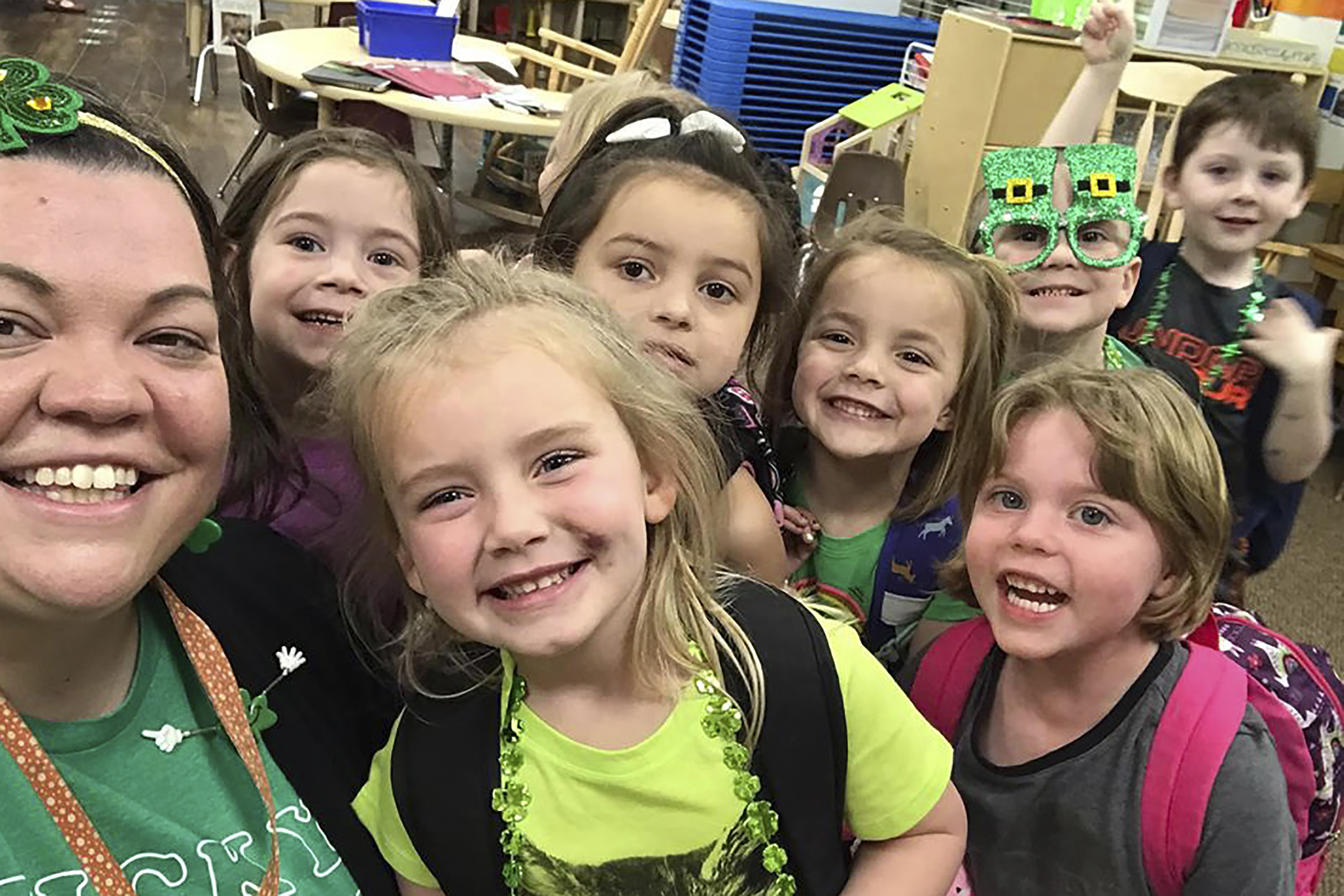 In this photo, Tabatha Rosproy, 2020 National Teacher of the Year, is shown with her pre-school students in Winfield, Kansas on March 12, 2020.