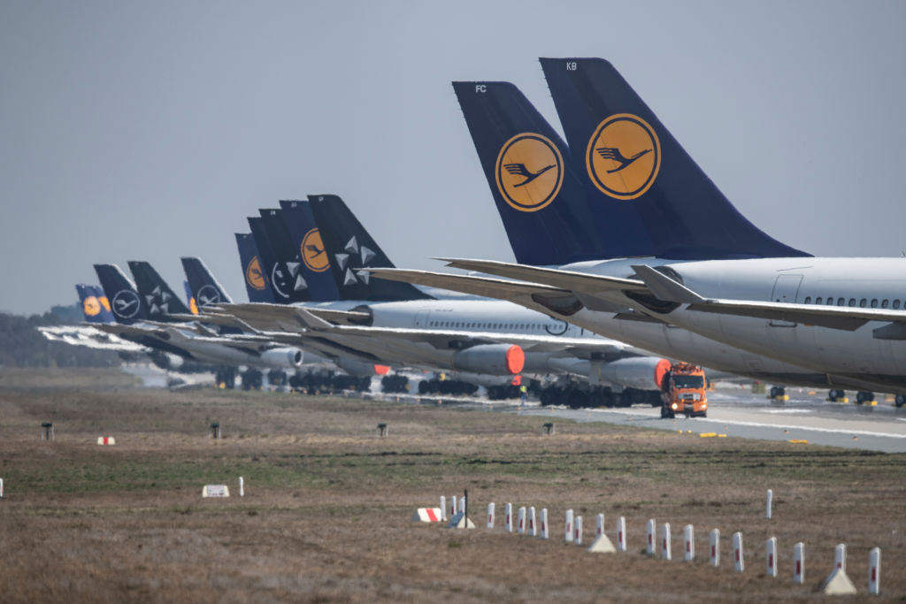 Planes are parked on a runway in Frankfurt Airport in Germany on April 7, 2020.