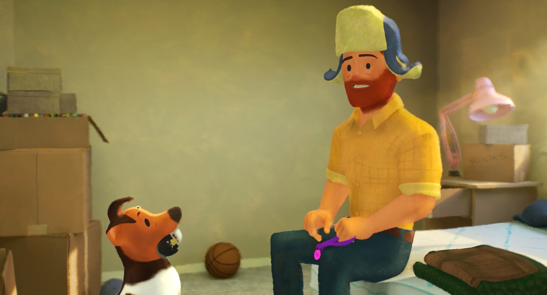 This image released by Pixar Animation Studios shows a scene from the animated short film 'Out.'