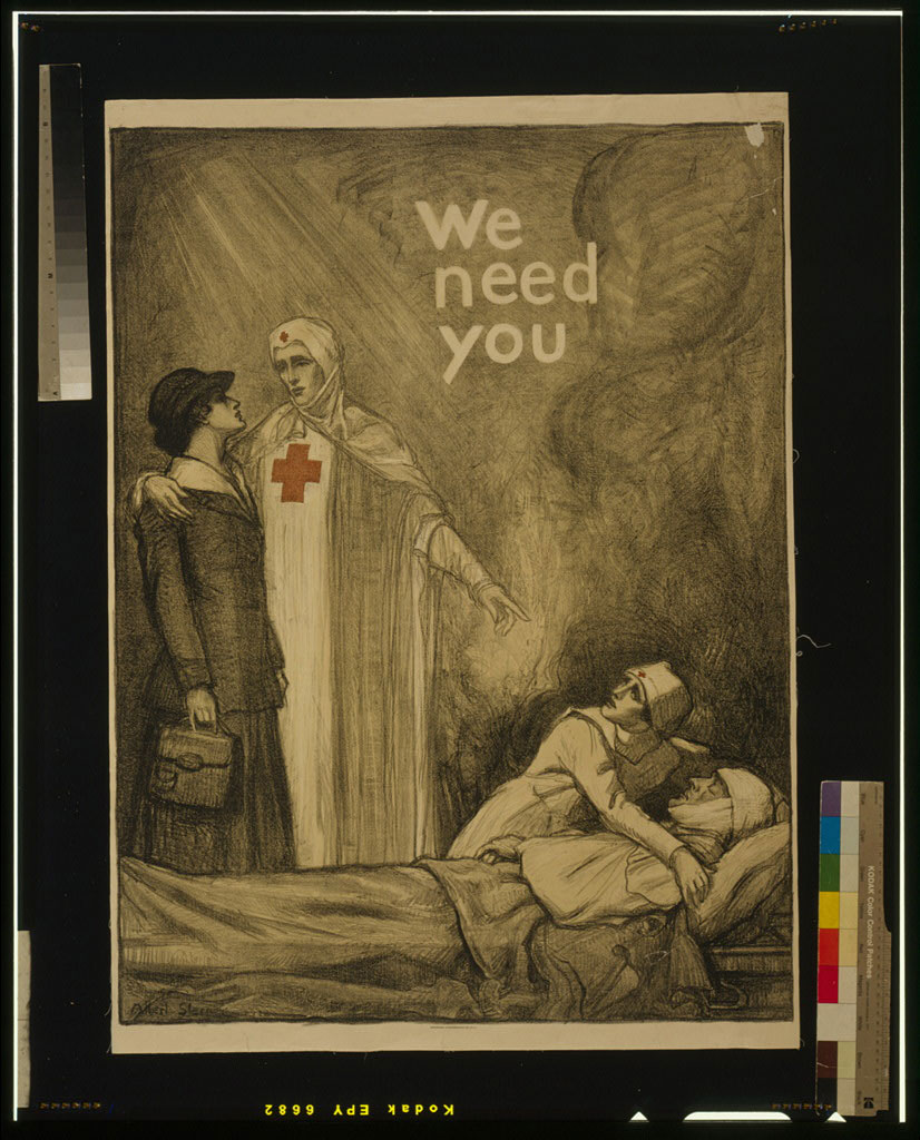 Poster showing a Red Cross nurse appealing to a young woman for help, as another nurse tends to a wounded man; created by Albert Sterner 1918.