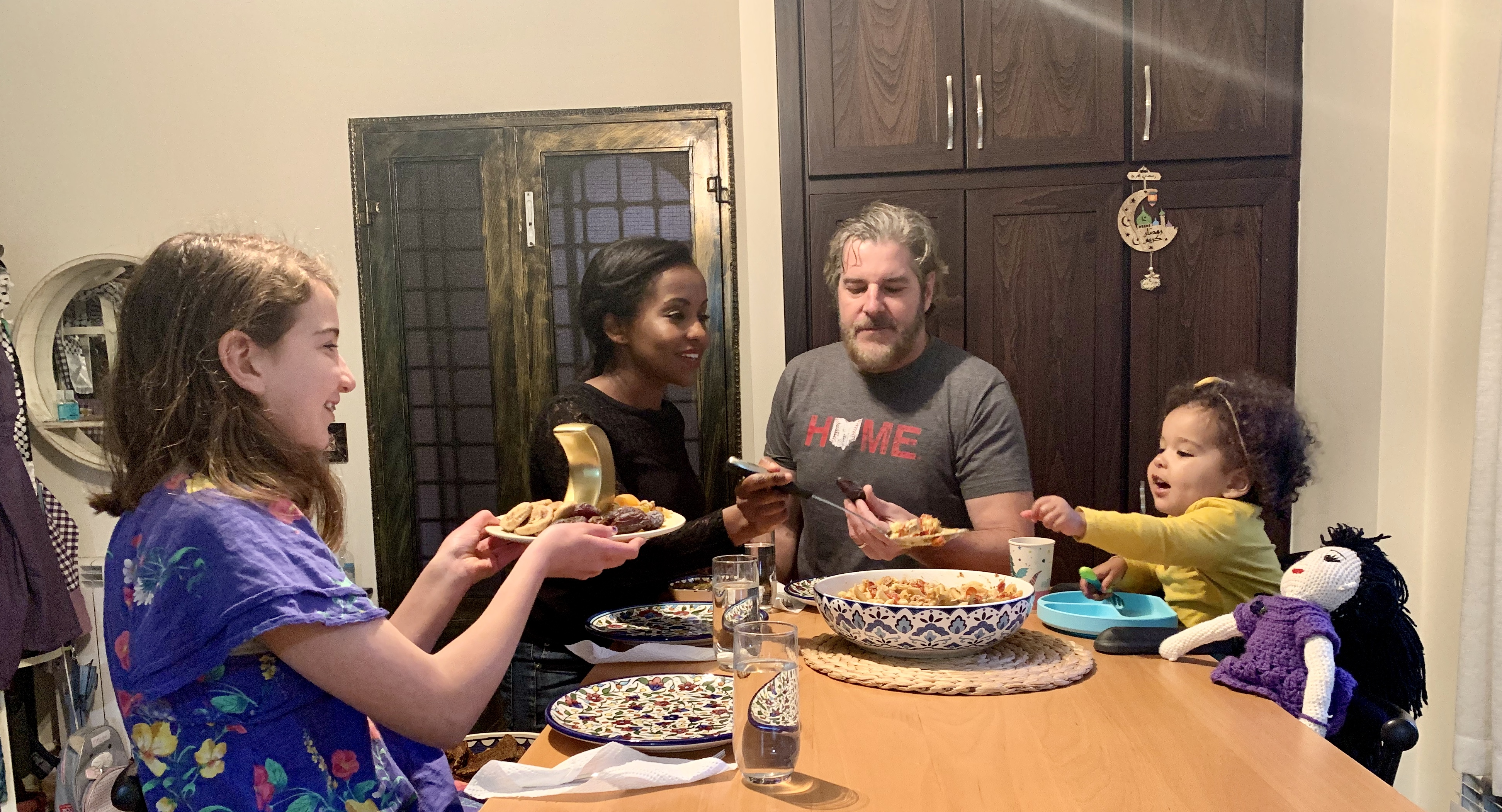 Dr. Zeena Salman breaks her fast with her husband and two children during the holy month of Ramadan this year.