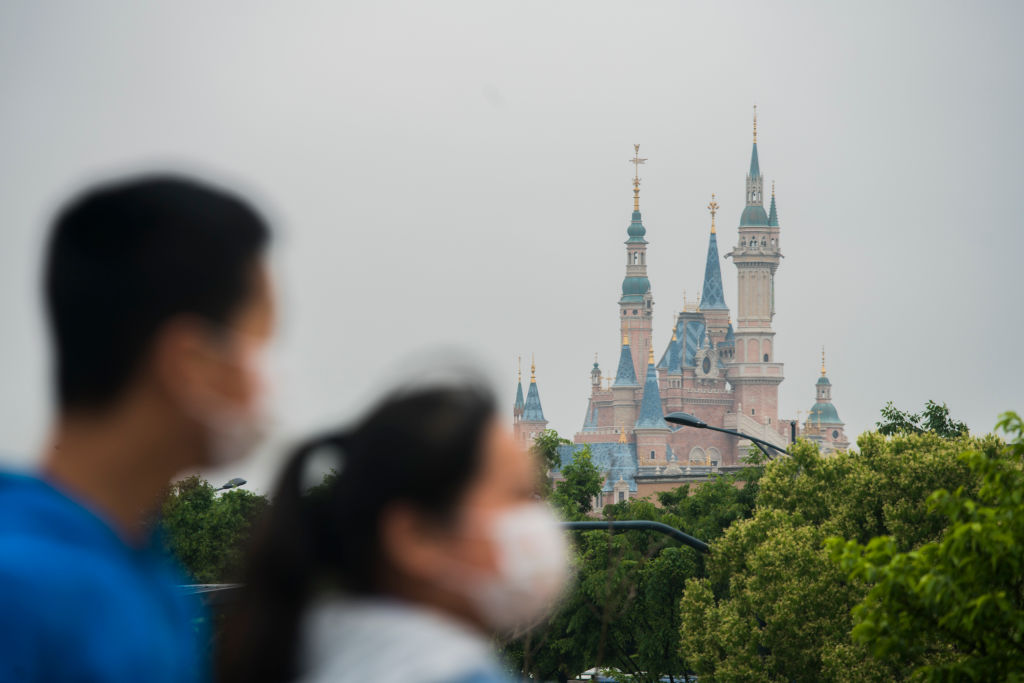 Tourists near Disneyland on May 5, 2020 in Shanghai, China.