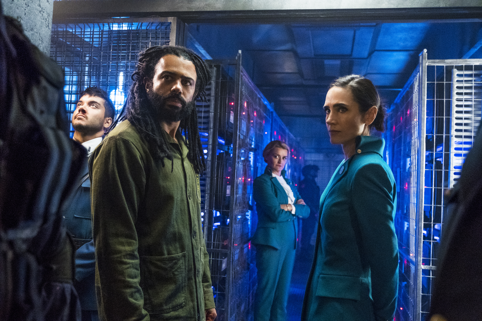 L-R: Sam Otto, Daveed Diggs, Alison Wright and Jennifer Connelly in 'Snowpiercer'