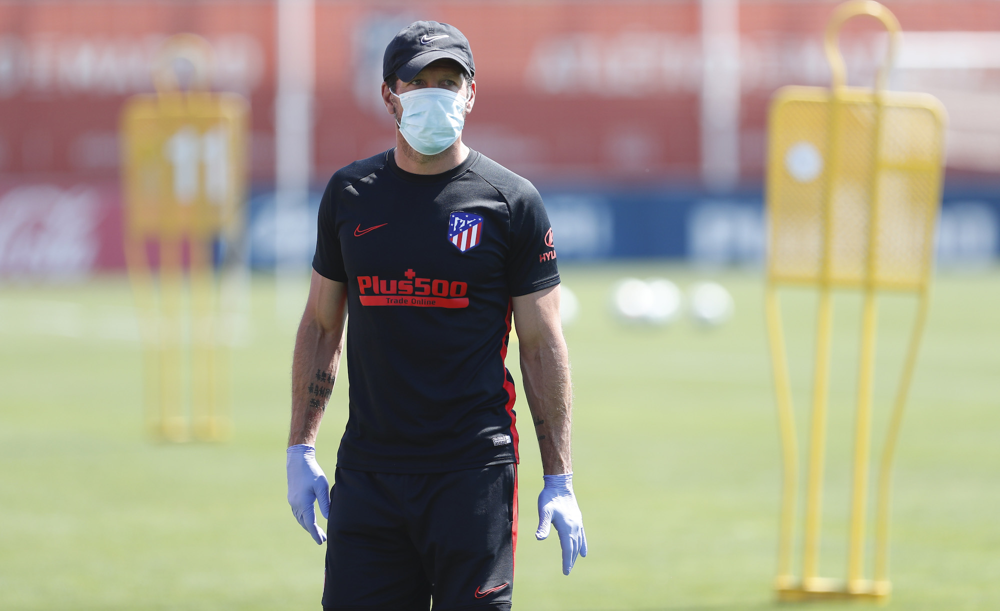 Head Coach Diego Pablo Simeone of Atletico de Madrid looks on during a training session on May 22, 2020 in Madrid, Spain.