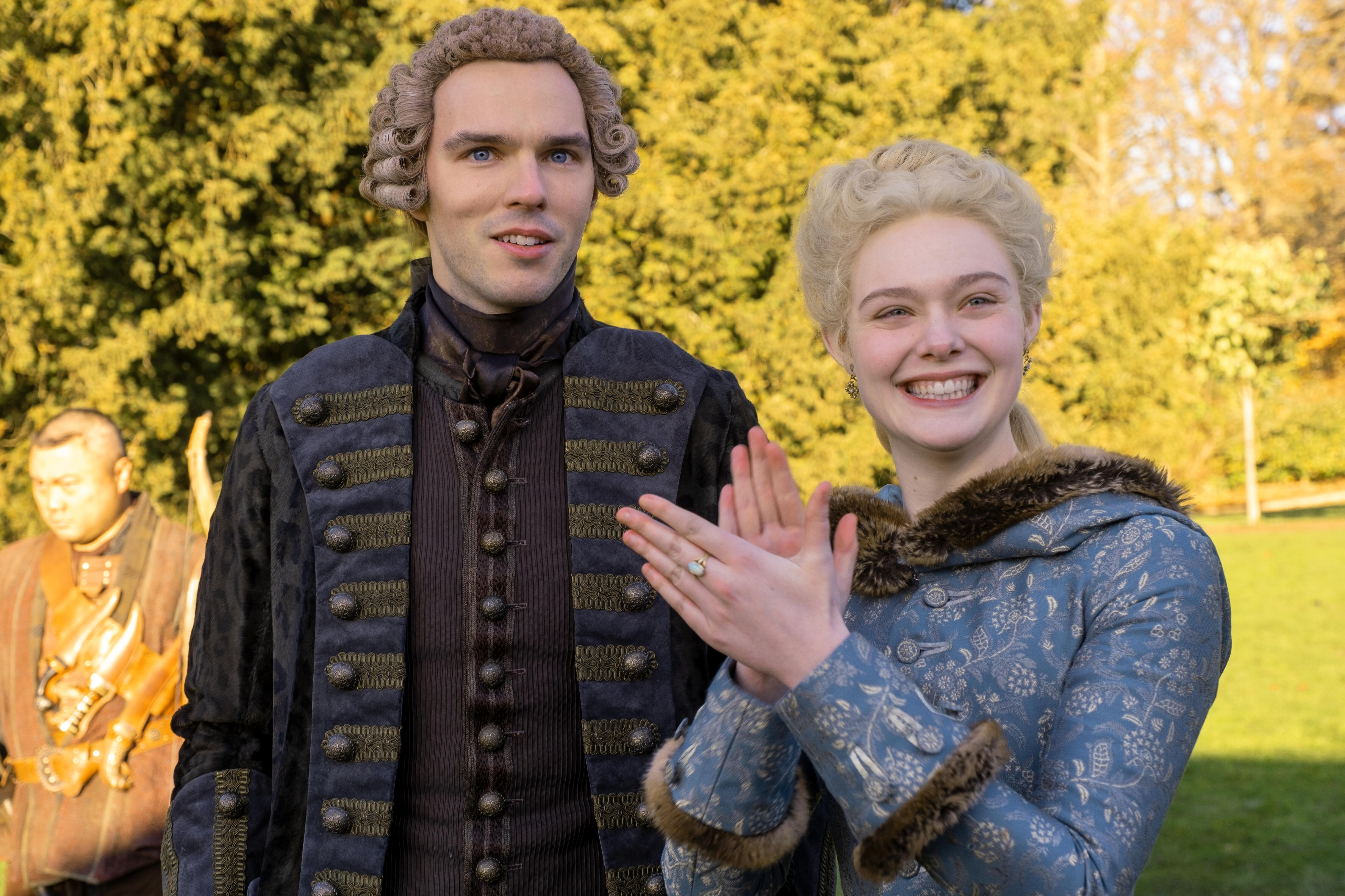 Nicholas Hoult and Elle Fanning in 'The Great'