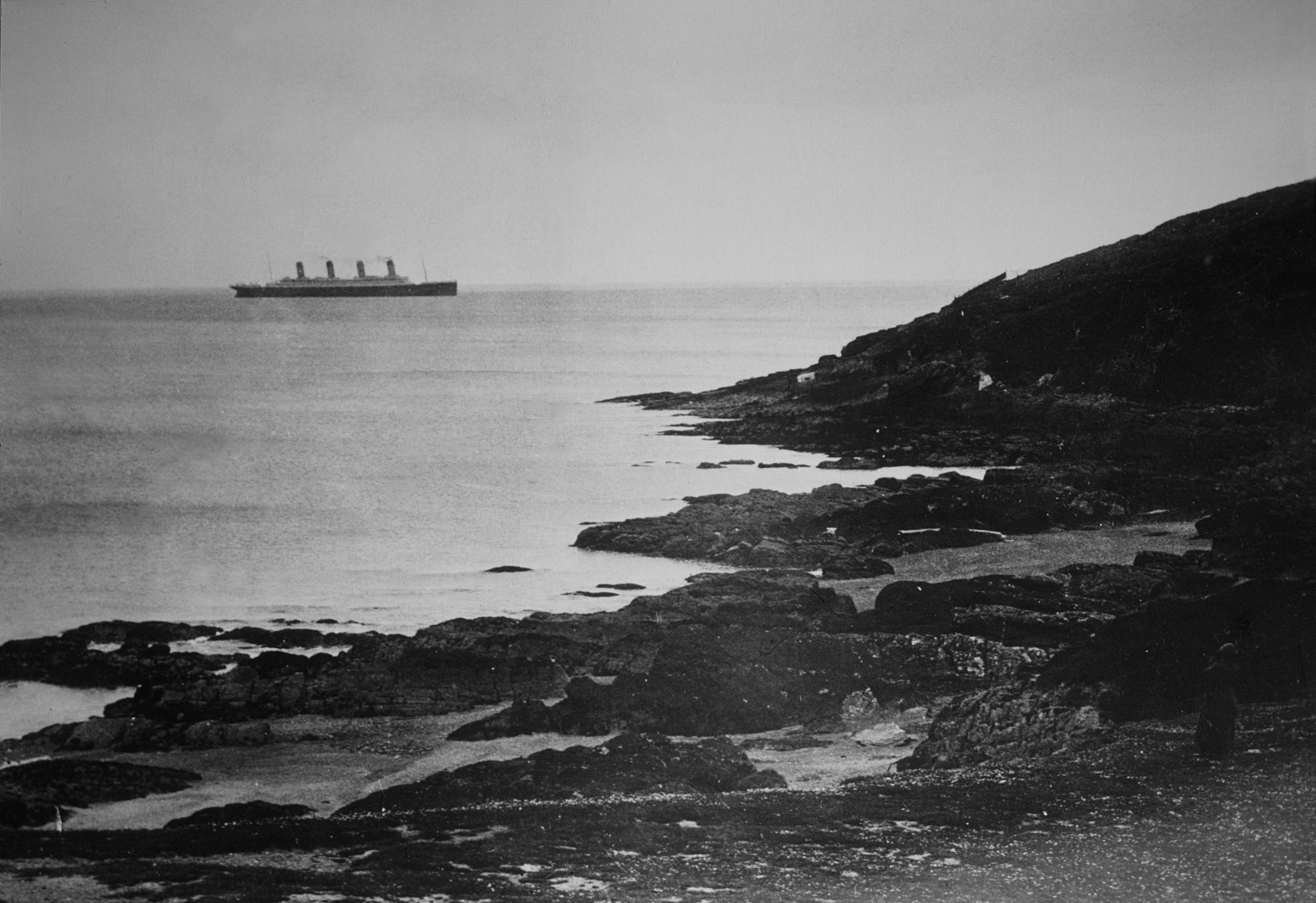 The Titanic sails away from her final landfall in Ireland on her maiden voyage across the Atlantic to New York.
