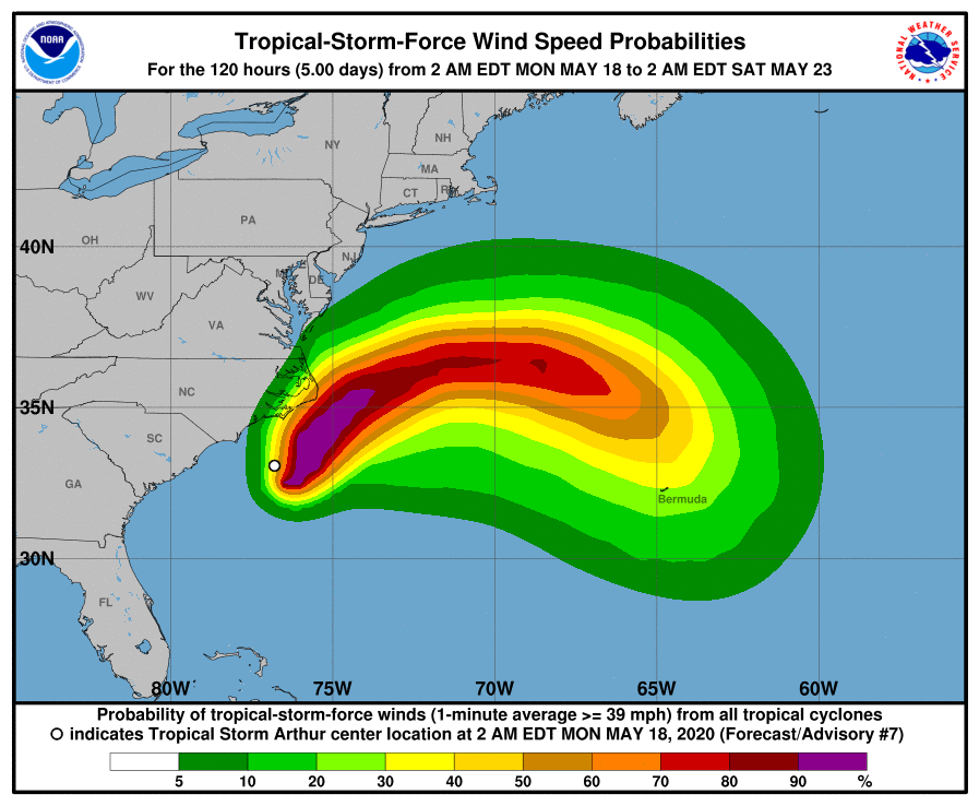 Wind speed probabilities for Tropical Storm Arthur from Monday until Saturday.