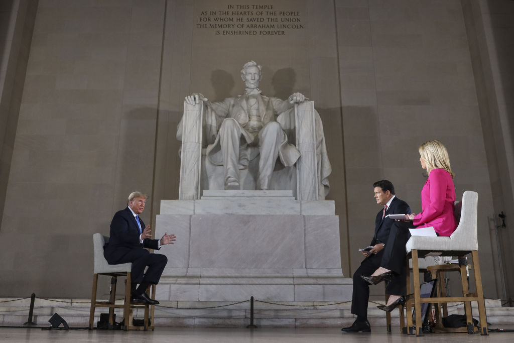 U.S. President Donald Trump speaks during a Fox News town hall at the Lincoln Memorial in Washington, D.C., on Sunday, May 3, 2020.
