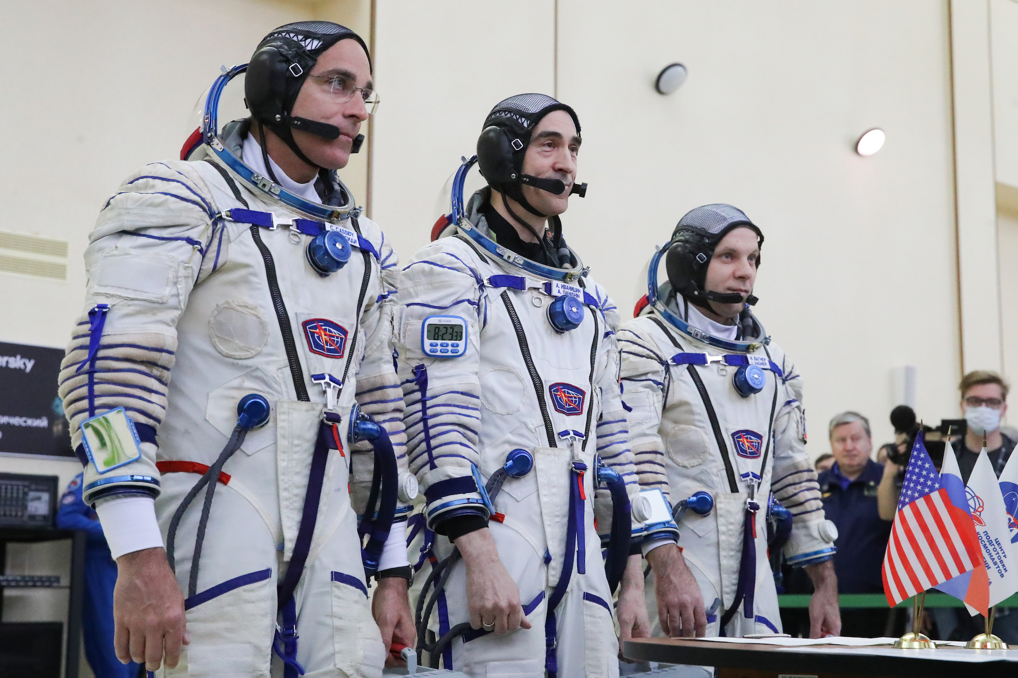 Members of the ISS Expedition 63 prime crew, NASA astronaut Christopher Cassidy, Roscosmos cosmonauts Anatoly Ivanishin and Ivan Vagner (L-R), ready for qualification training sessions at Yuri Gagarin Cosmonaut Training Centre in Zvyozdny Gorodok [Star City] ahead of their Soyuz MS-16 space launch scheduled to take place at the Baikonur Cosmodrome on April 9, 2020.