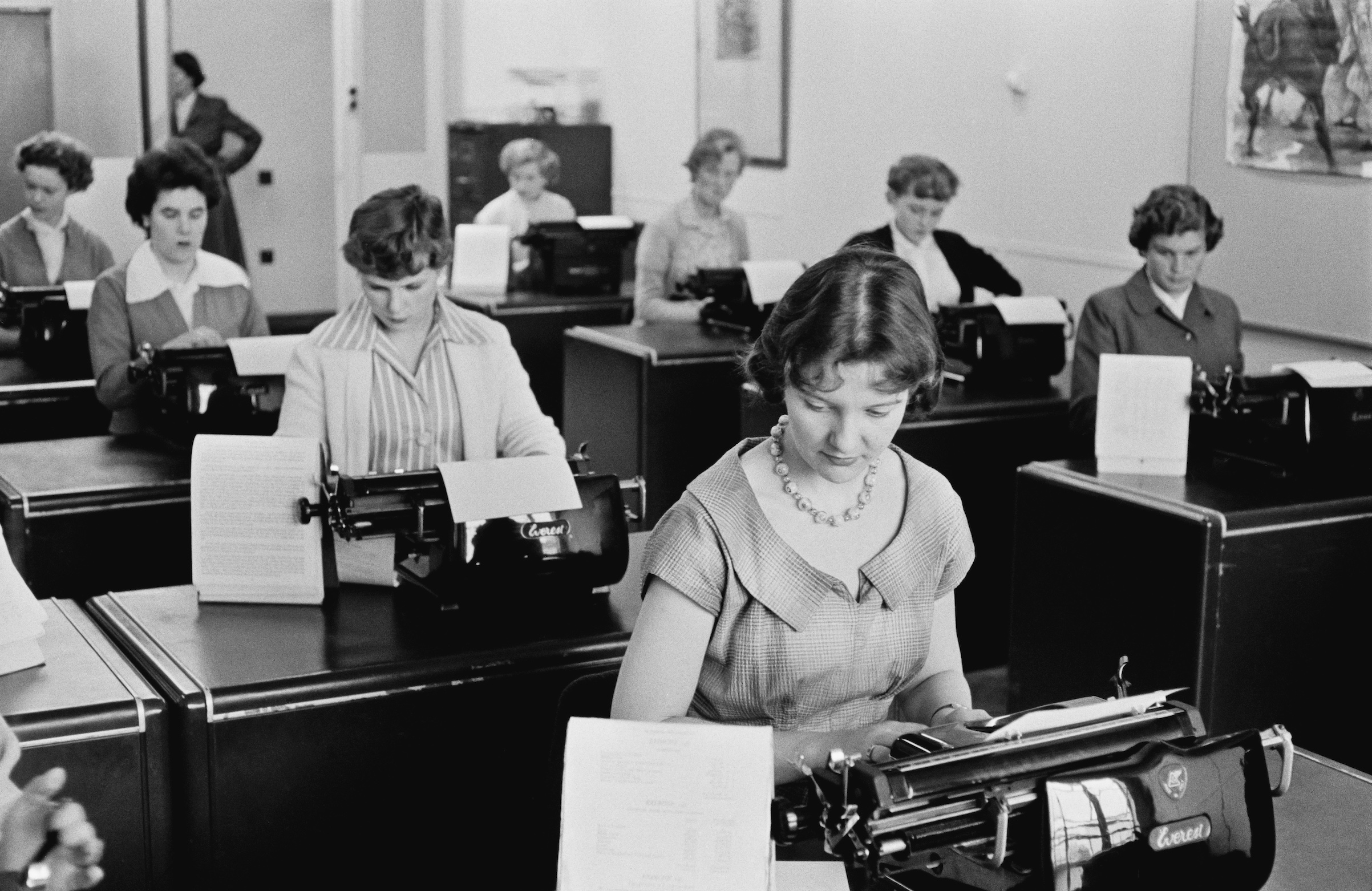 Typists at work at Unilever House in Blackfriars, London, September 1955.