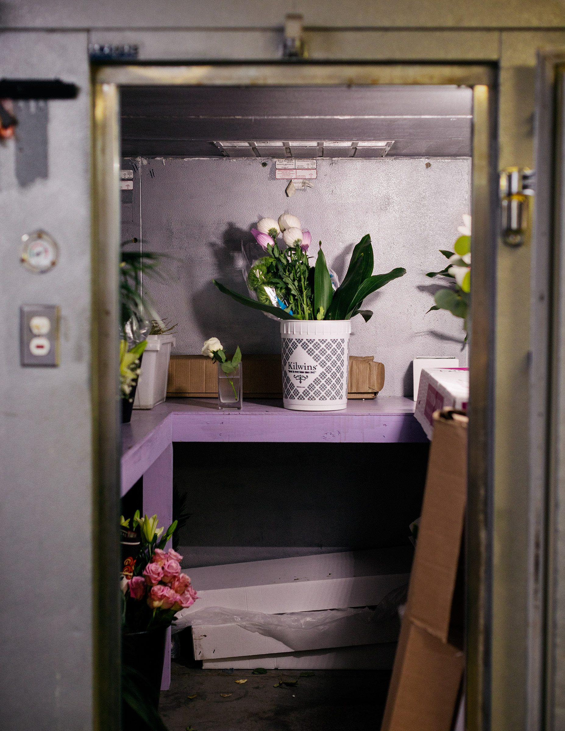 A bucket of flowers sit in a sparse walk-in freezer that is usually filled to the brim.