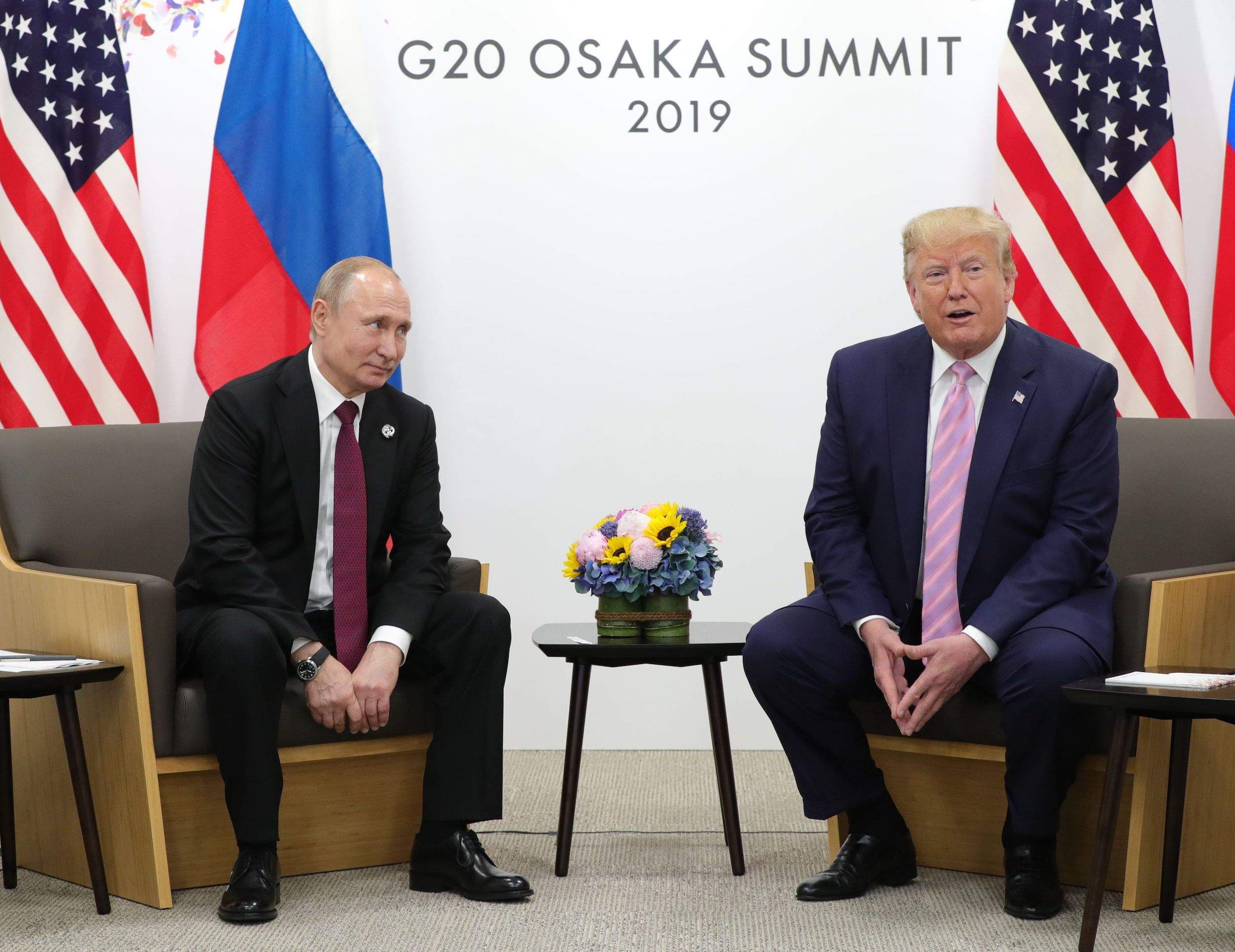 Russian President Vladimir Putin and US President Donald Trump hold a meeting on the sidelines of the G20 summit in Osaka on June 28, 2019.