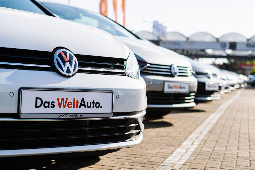 Vehicles are seen at a car dealership of Volkswagen in Berlin, capital of Germany on May 7, 2020.