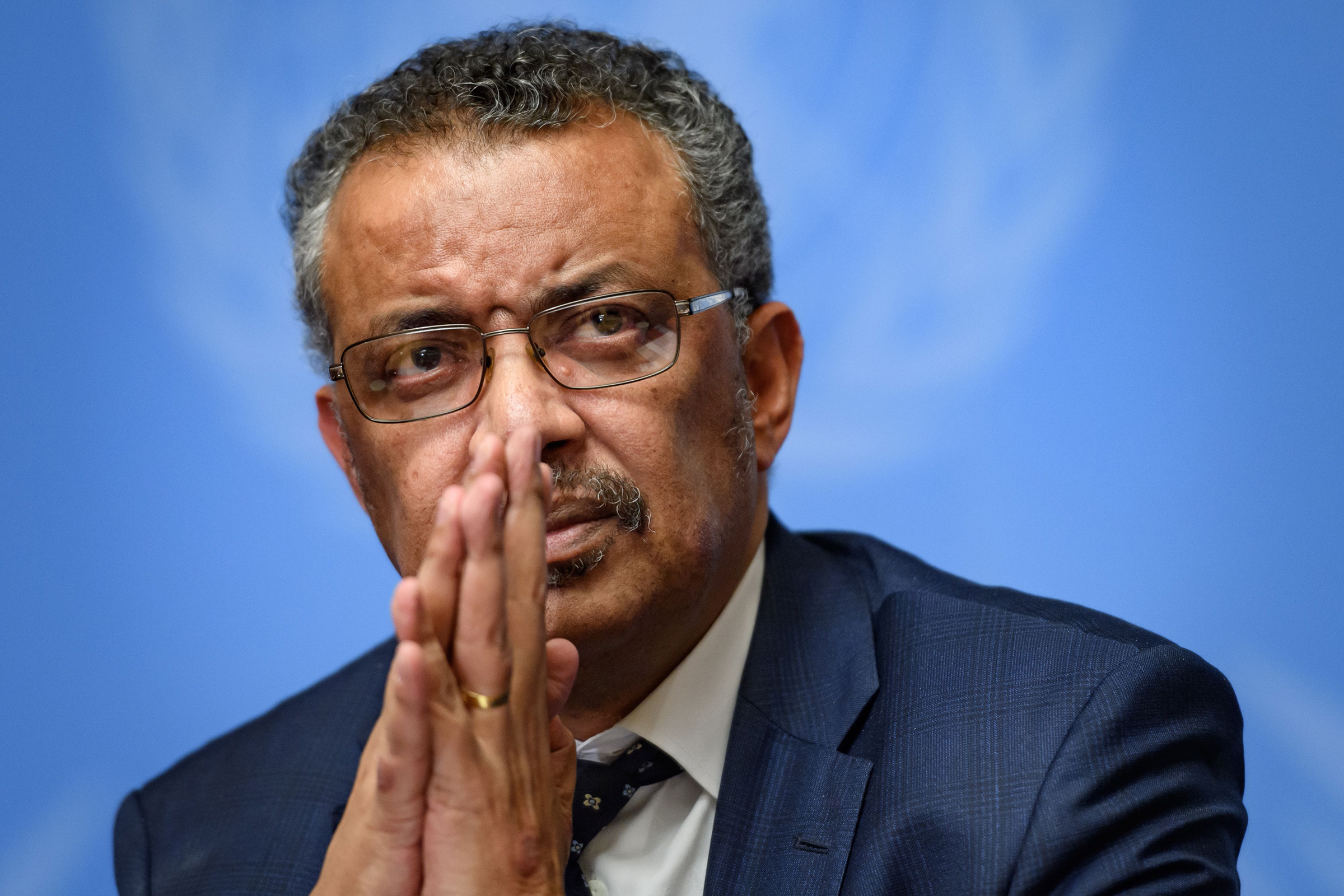 World Health Organization (WHO) Director-General Tedros Adhanom Ghebreyesus gestures during a press briefing on evolution of new coronavirus epidemic on Jan. 29 in Geneva