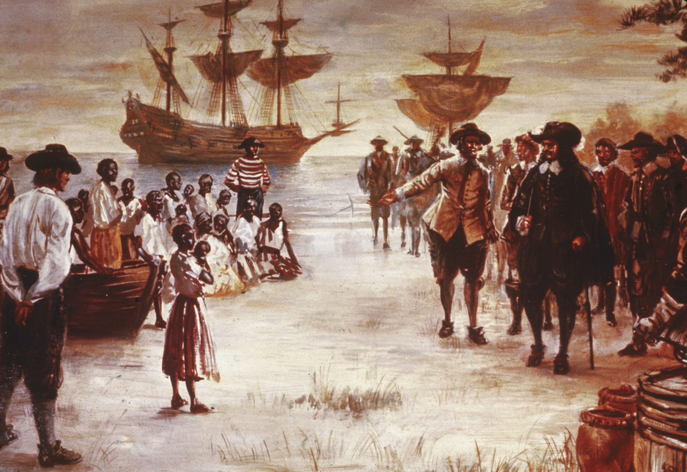 An engraving shows the arrival of a Dutch slave ship with a group of enslaved Africans for sale, Jamestown, Va., 1619.