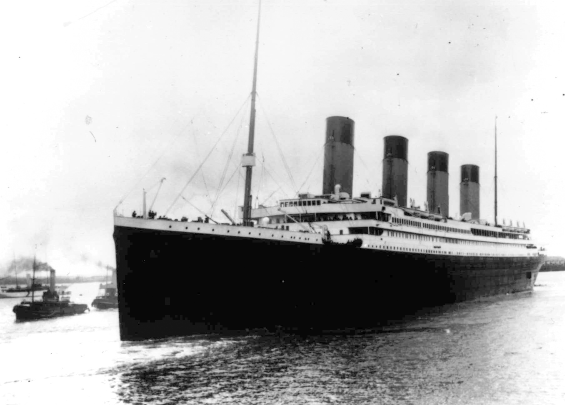 In this April 10, 1912 file photo the Titanic leaves Southampton, England on her maiden voyage.