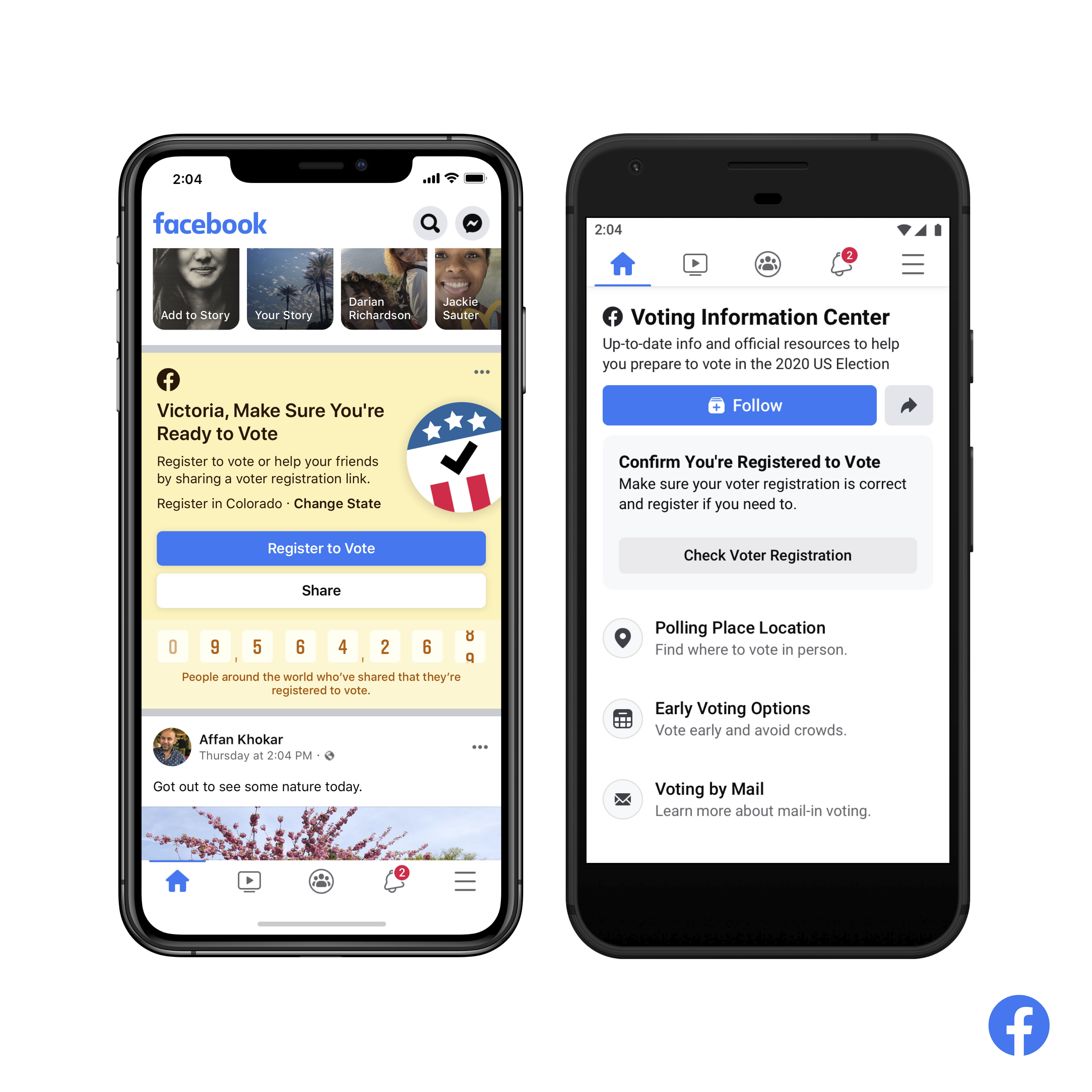 This image provided by Facebook shows screens of its Voting Information Center.