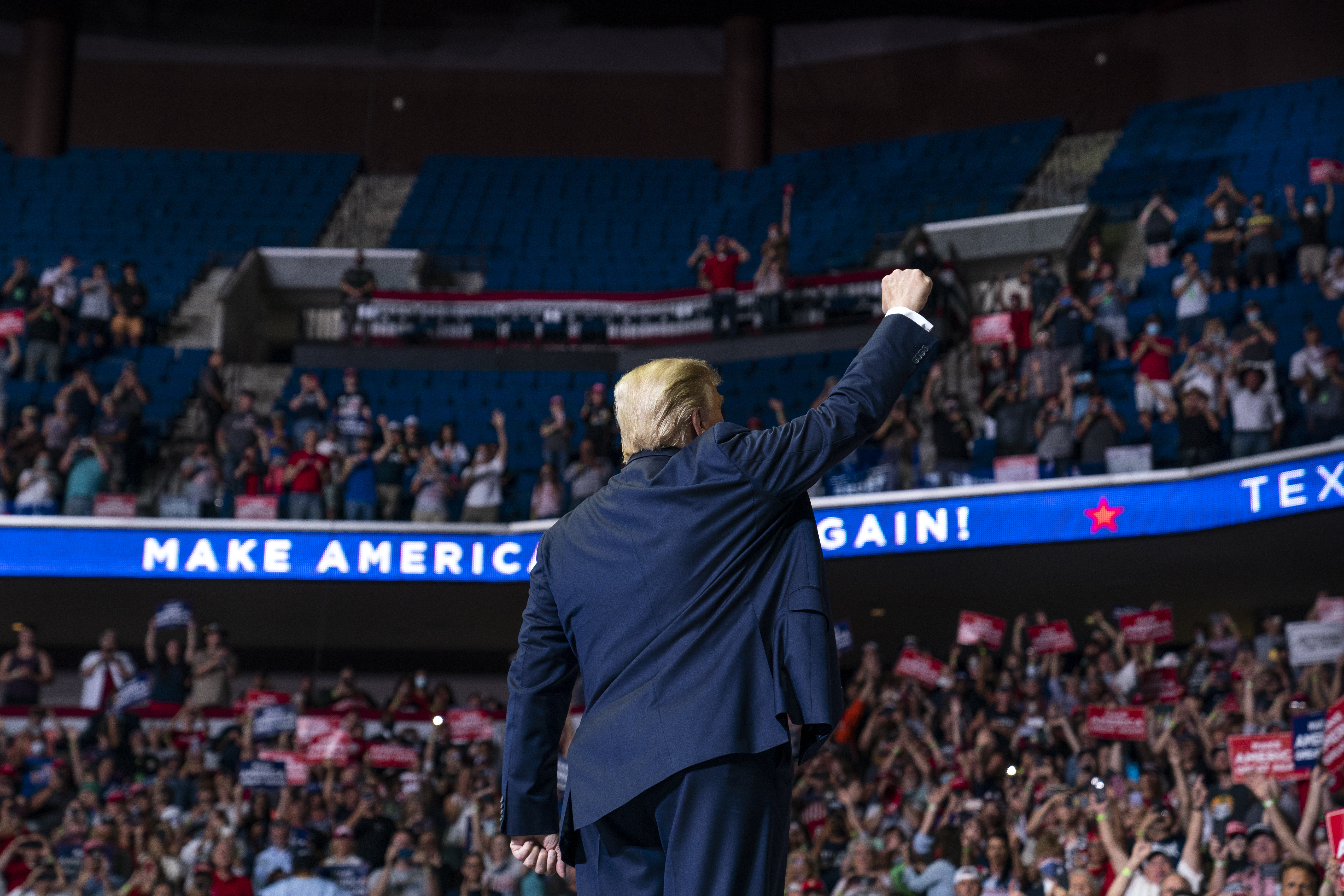 President Donald Trump arrives on stage to speak at a campaign rally at the BOK Center, on June 20, 2020, in Tulsa, Okla.