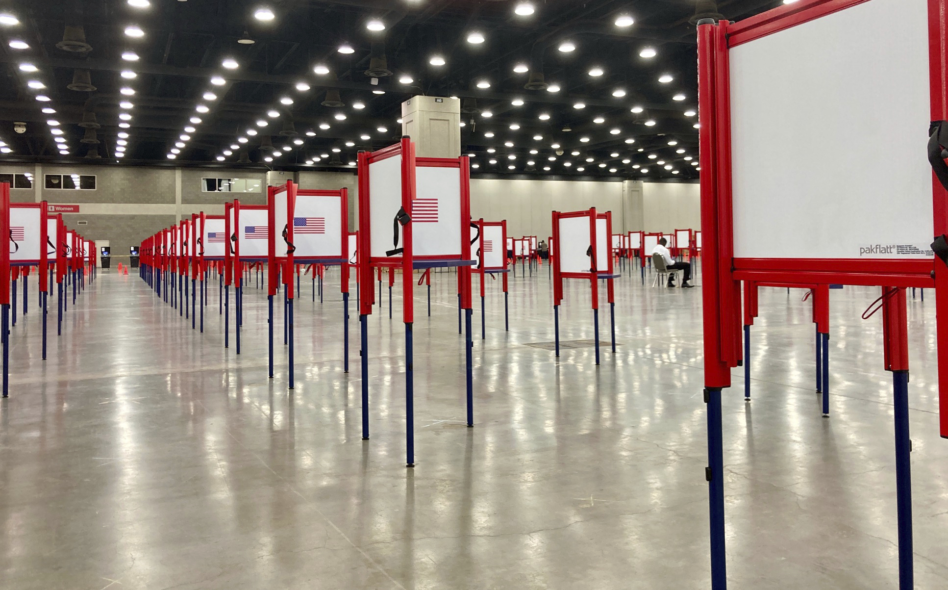 Voting stations are set up for the primary election at the Kentucky Exposition Center, on June 22, 2020, in Louisville, Ky.